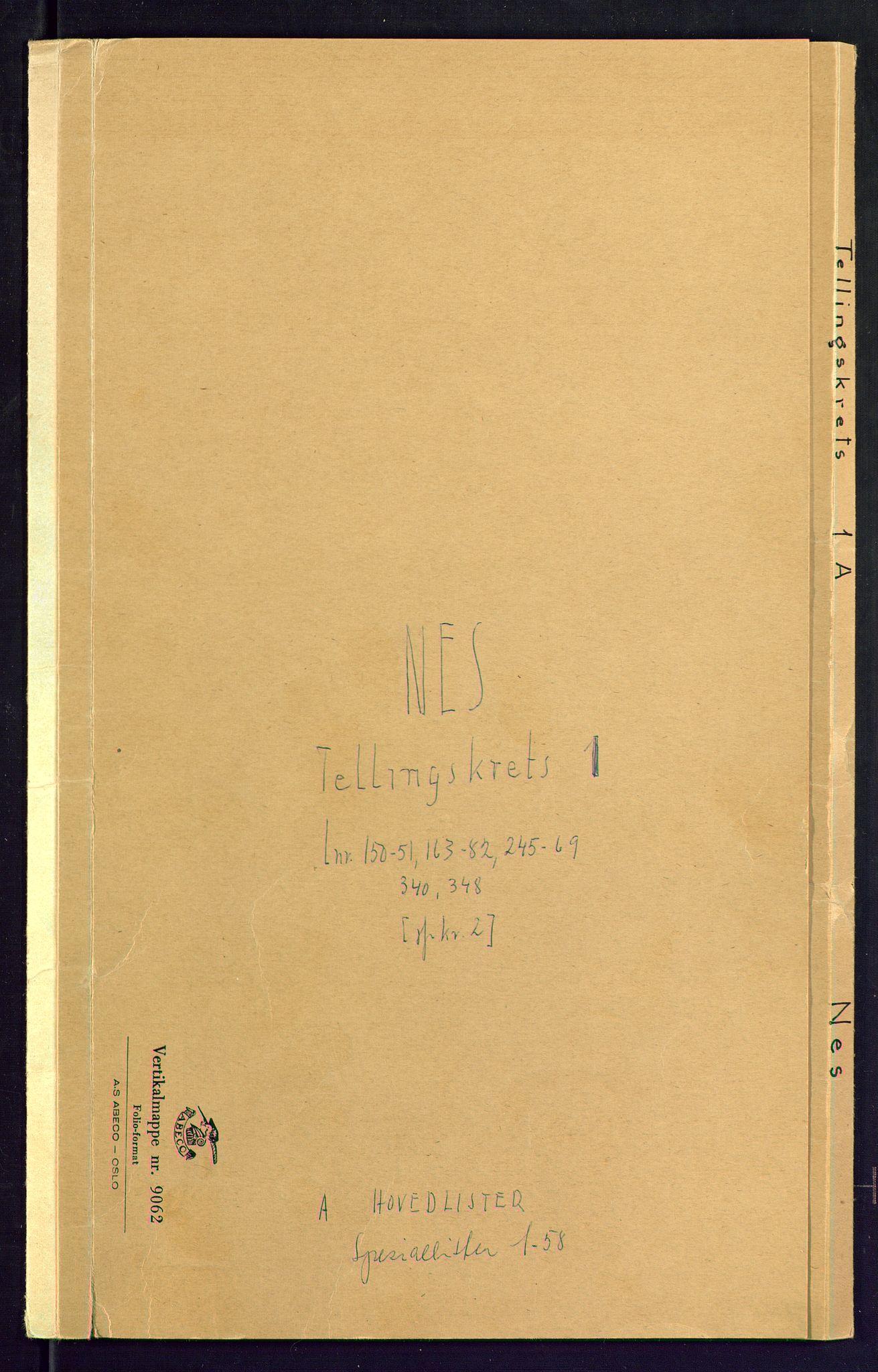 SAKO, Folketelling 1875 for 0616P Nes prestegjeld, 1875, s. 1