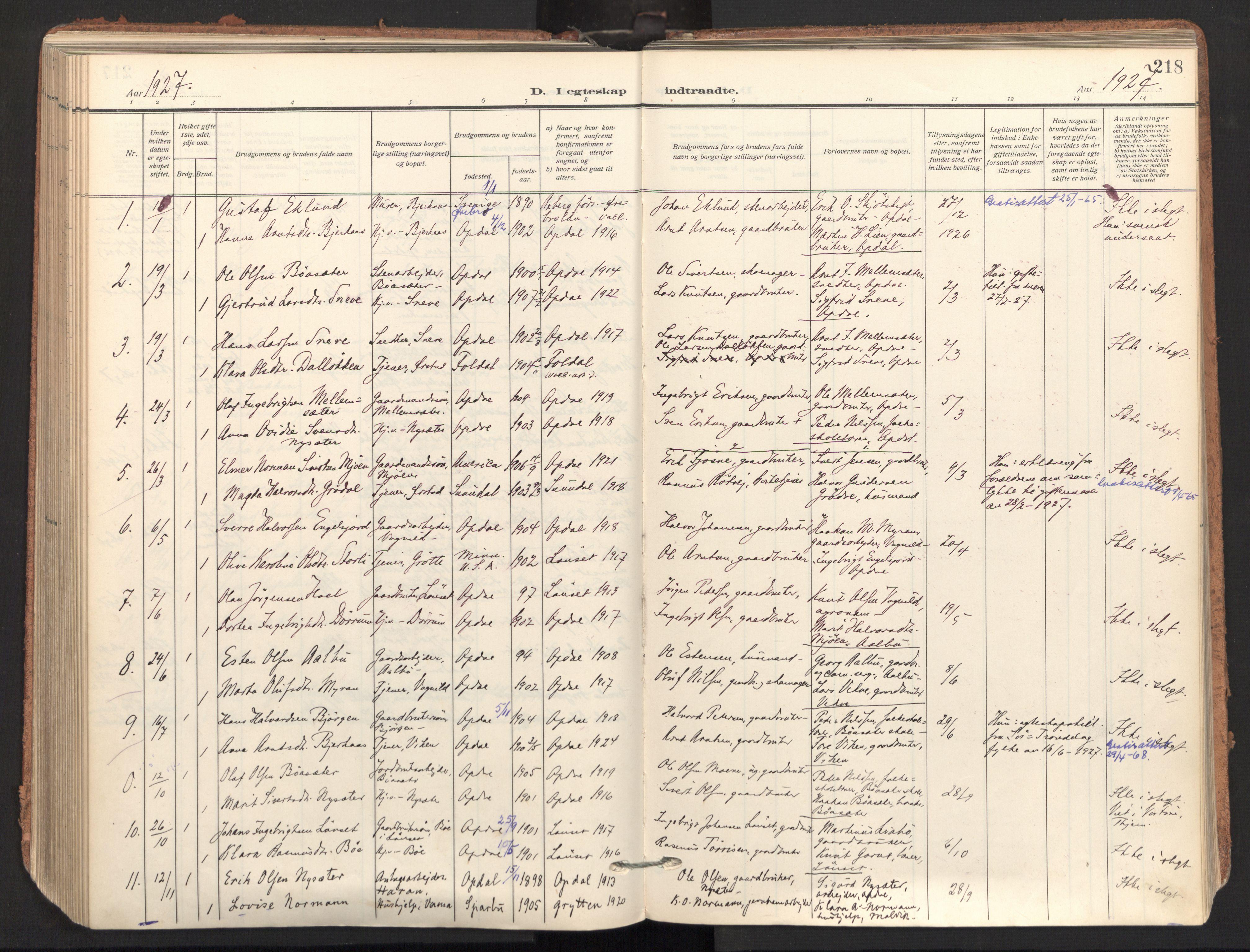 SAT, Ministerialprotokoller, klokkerbøker og fødselsregistre - Sør-Trøndelag, 678/L0909: Ministerialbok nr. 678A17, 1912-1930, s. 218