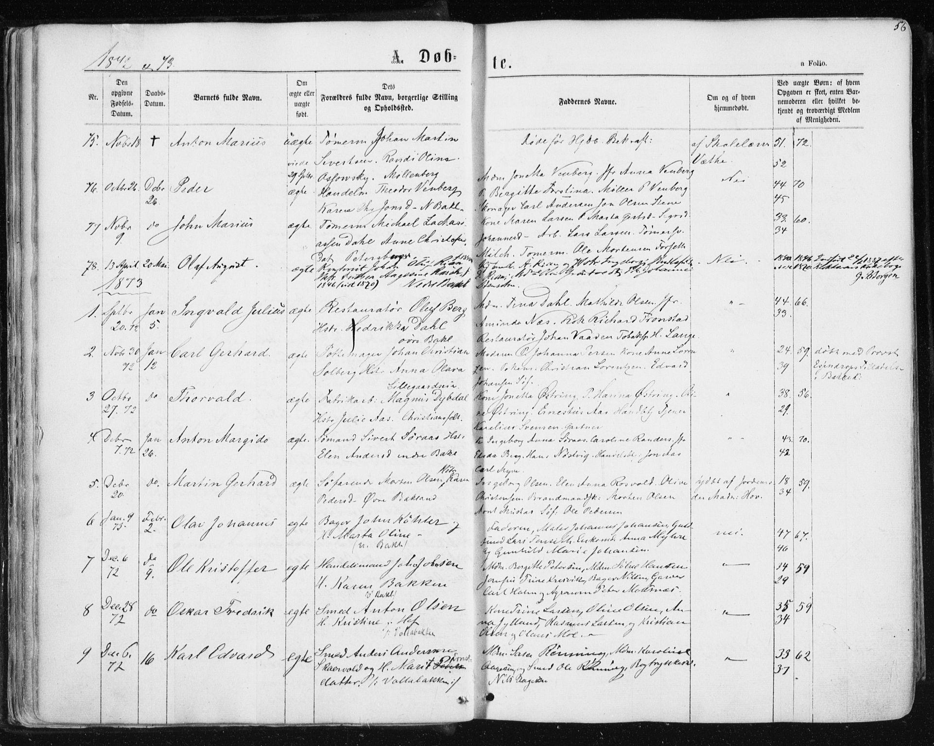 SAT, Ministerialprotokoller, klokkerbøker og fødselsregistre - Sør-Trøndelag, 604/L0186: Ministerialbok nr. 604A07, 1866-1877, s. 56