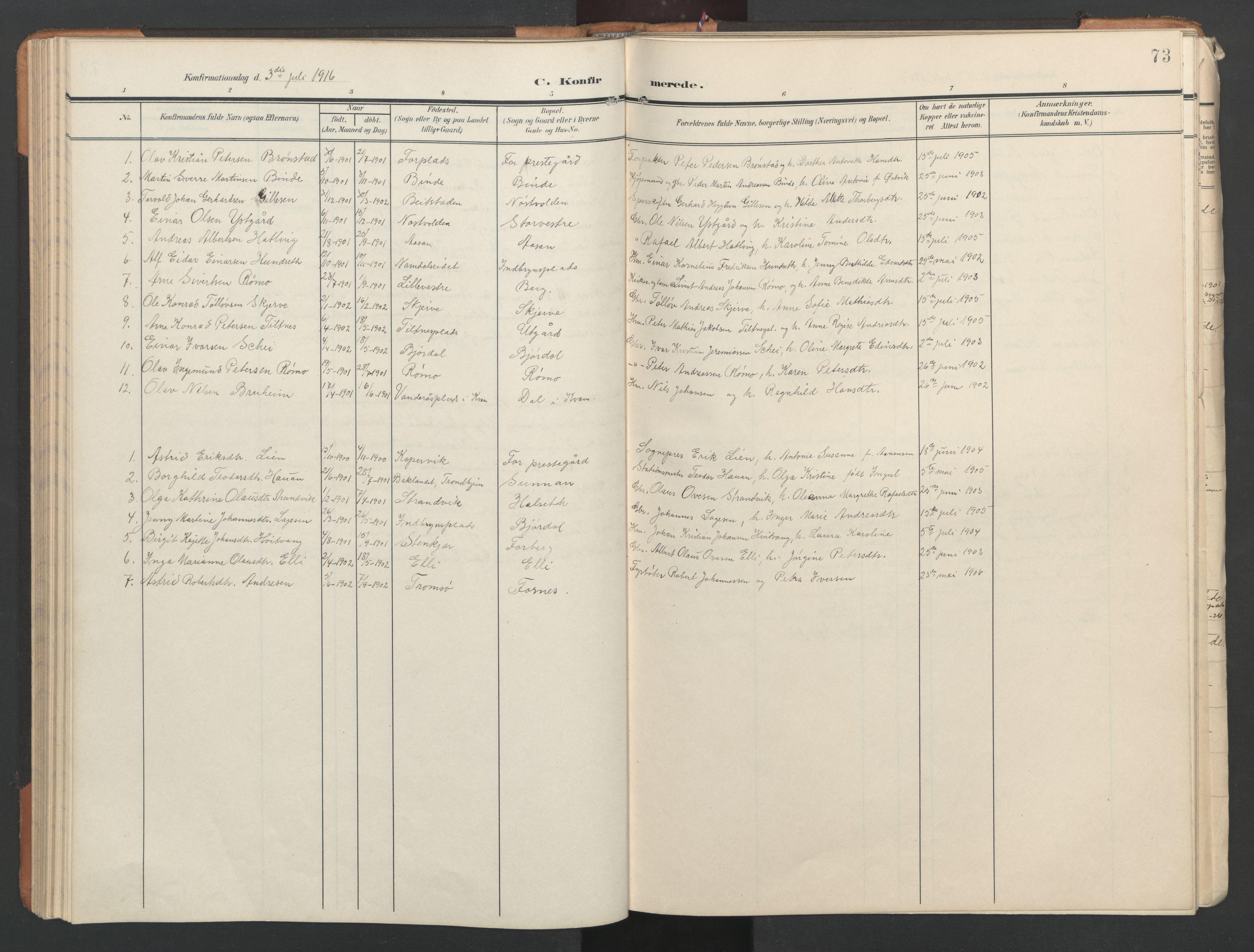 SAT, Ministerialprotokoller, klokkerbøker og fødselsregistre - Nord-Trøndelag, 746/L0455: Klokkerbok nr. 746C01, 1908-1933, s. 73