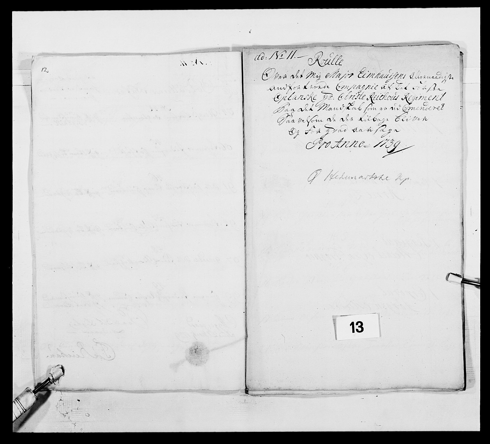 RA, Kommanderende general (KG I) med Det norske krigsdirektorium, E/Ea/L0502: 1. Opplandske regiment, 1720-1743, s. 129