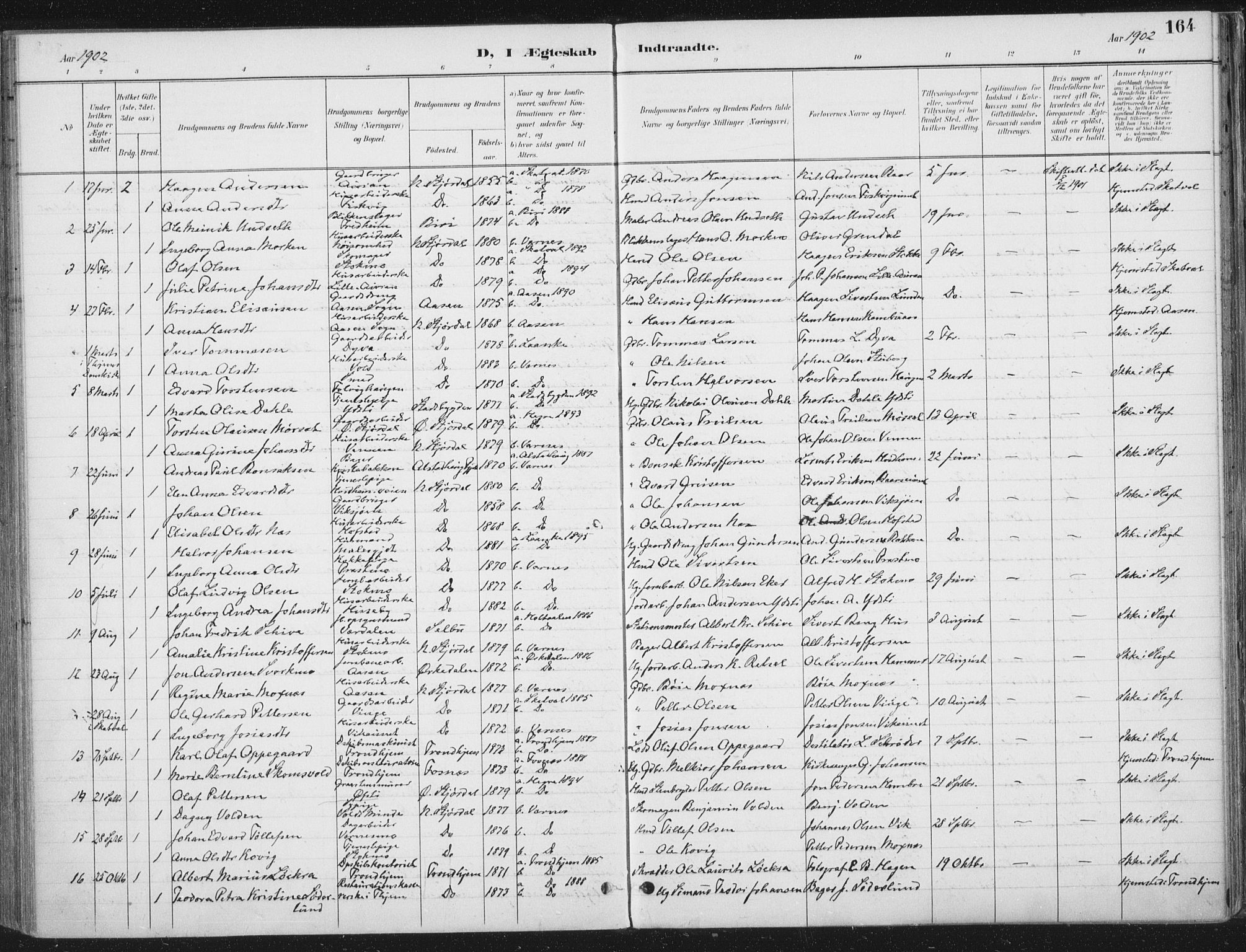 SAT, Ministerialprotokoller, klokkerbøker og fødselsregistre - Nord-Trøndelag, 709/L0082: Ministerialbok nr. 709A22, 1896-1916, s. 164