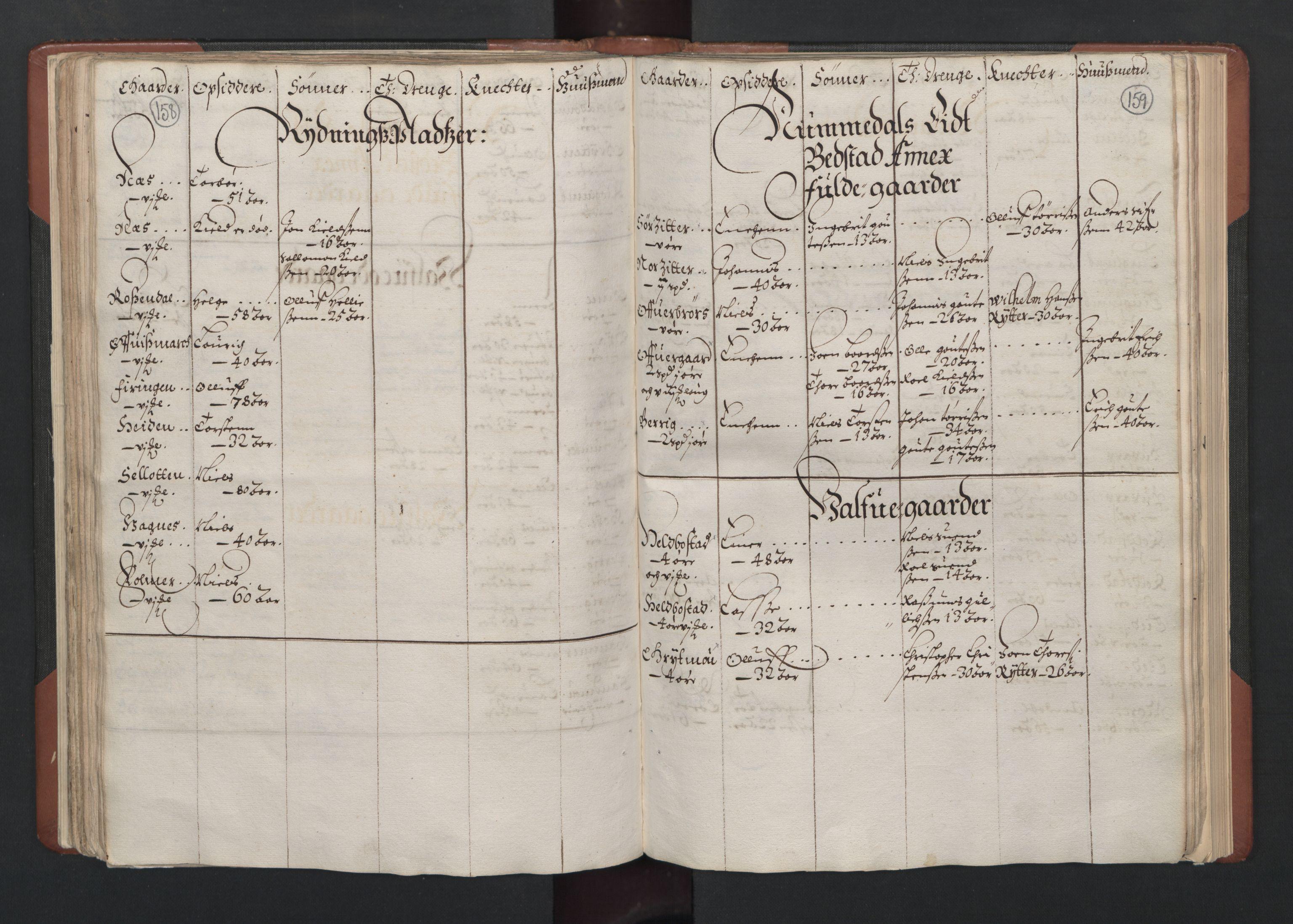 RA, Fogdenes og sorenskrivernes manntall 1664-1666, nr. 19: Fosen fogderi, Inderøy fogderi, Selbu fogderi, Namdal fogderi og Stjørdal fogderi, 1664-1665, s. 158-159