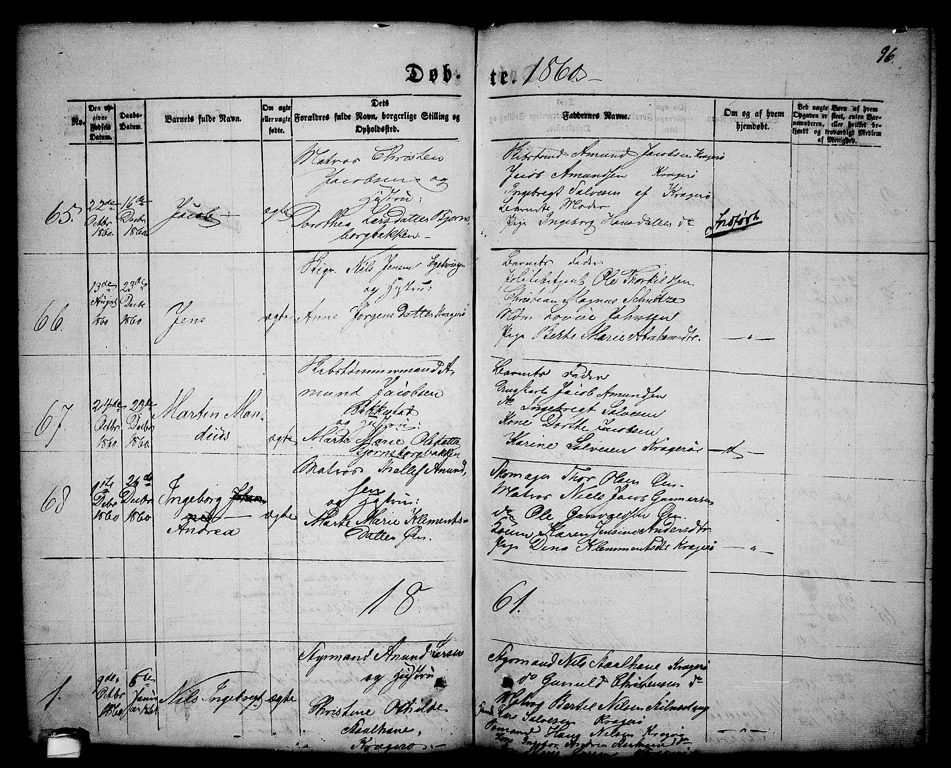 SAKO, Kragerø kirkebøker, G/Ga/L0004: Klokkerbok nr. 4, 1853-1865, s. 96