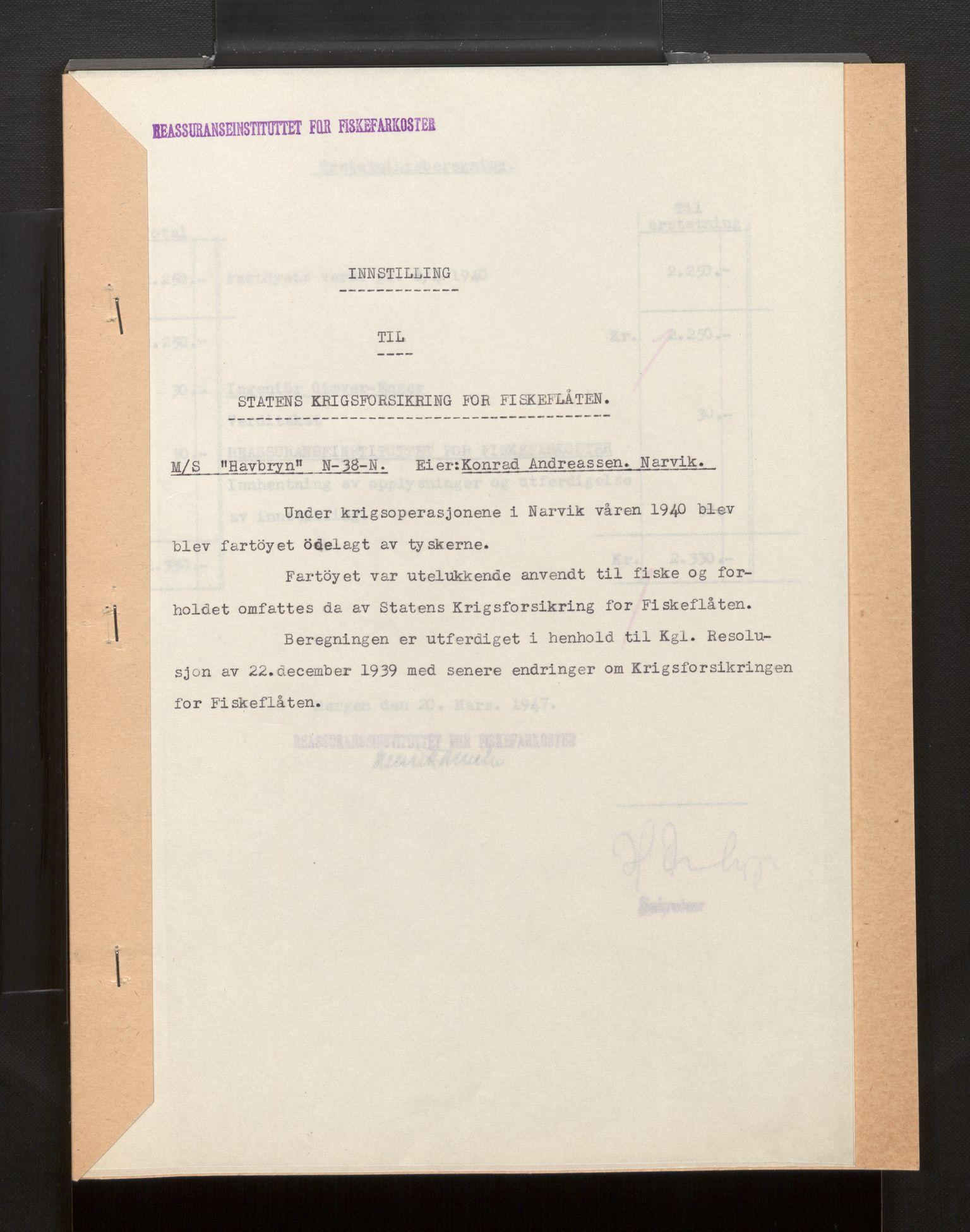 SAB, Fiskeridirektoratet - 1 Adm. ledelse - 13 Båtkontoret, La/L0042: Statens krigsforsikring for fiskeflåten, 1936-1971, s. 716
