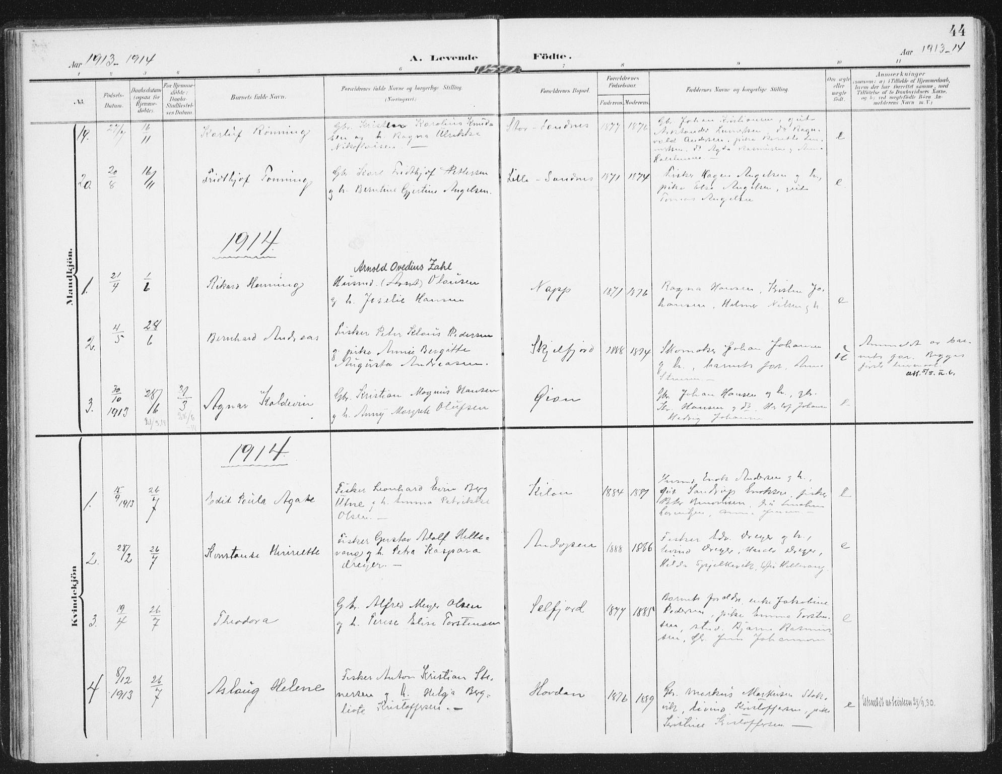 SAT, Ministerialprotokoller, klokkerbøker og fødselsregistre - Nordland, 885/L1206: Ministerialbok nr. 885A07, 1905-1915, s. 44