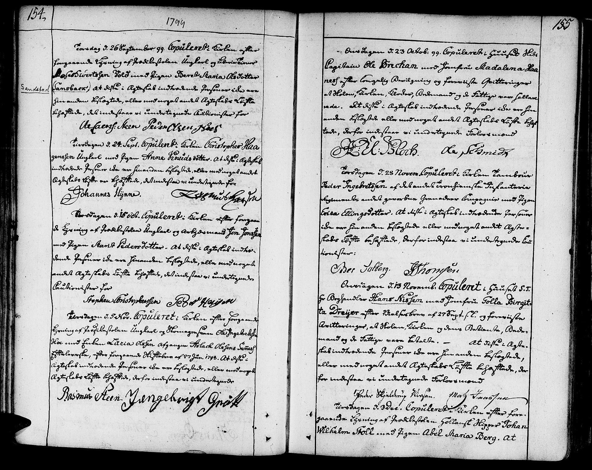 SAT, Ministerialprotokoller, klokkerbøker og fødselsregistre - Sør-Trøndelag, 602/L0105: Ministerialbok nr. 602A03, 1774-1814, s. 154-155