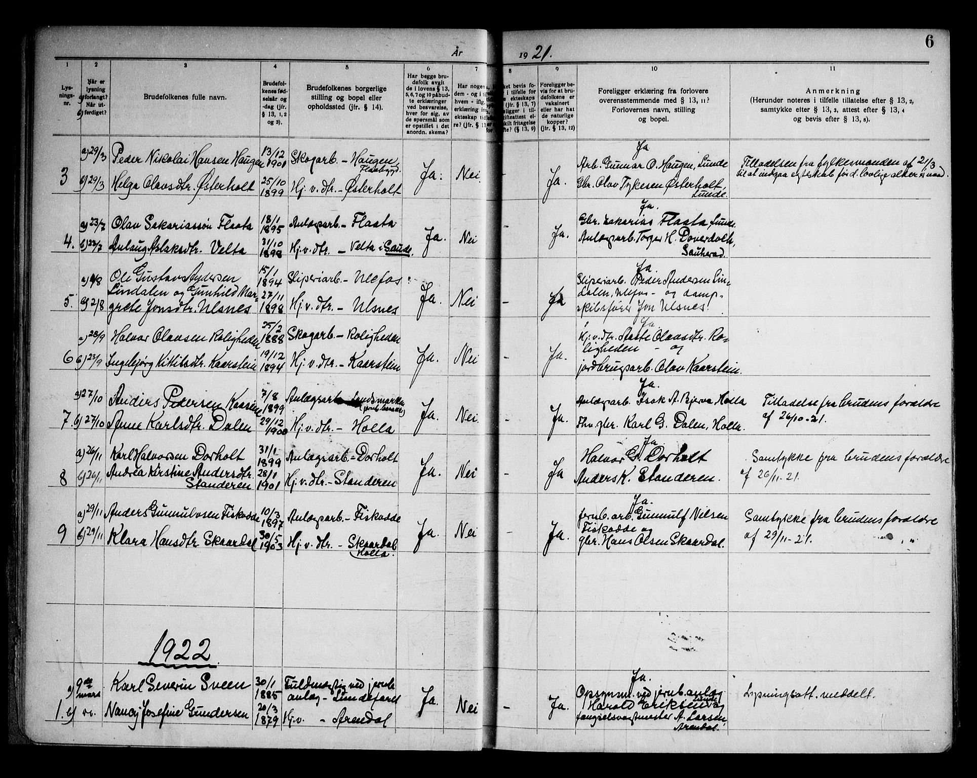 SAKO, Lunde kirkebøker, H/Ha/L0001: Lysningsprotokoll nr. 1, 1919-1966, s. 6