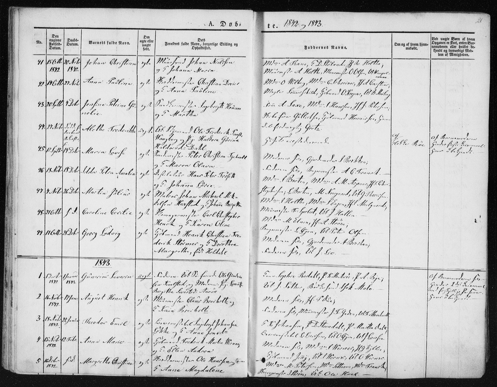 SAT, Ministerialprotokoller, klokkerbøker og fødselsregistre - Sør-Trøndelag, 602/L0110: Ministerialbok nr. 602A08, 1840-1854, s. 21