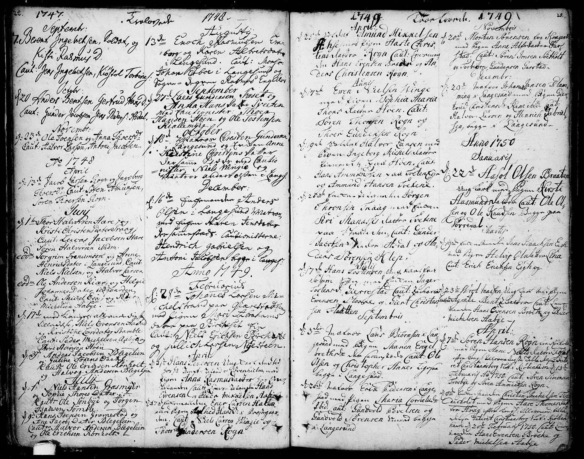 SAKO, Bamble kirkebøker, F/Fa/L0001: Ministerialbok nr. I 1, 1702-1774, s. 24-25