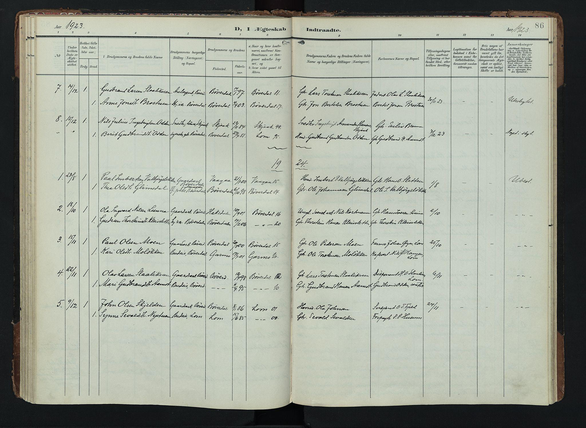 SAH, Lom prestekontor, K/L0012: Ministerialbok nr. 12, 1904-1928, s. 86