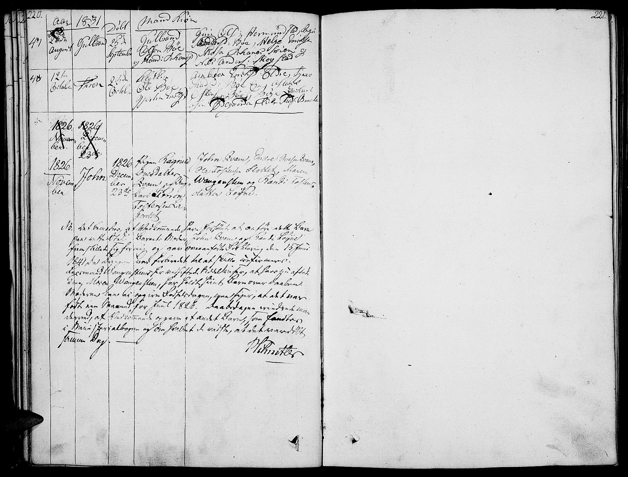 SAH, Vang prestekontor, Valdres, Ministerialbok nr. 3, 1809-1831, s. 220-221