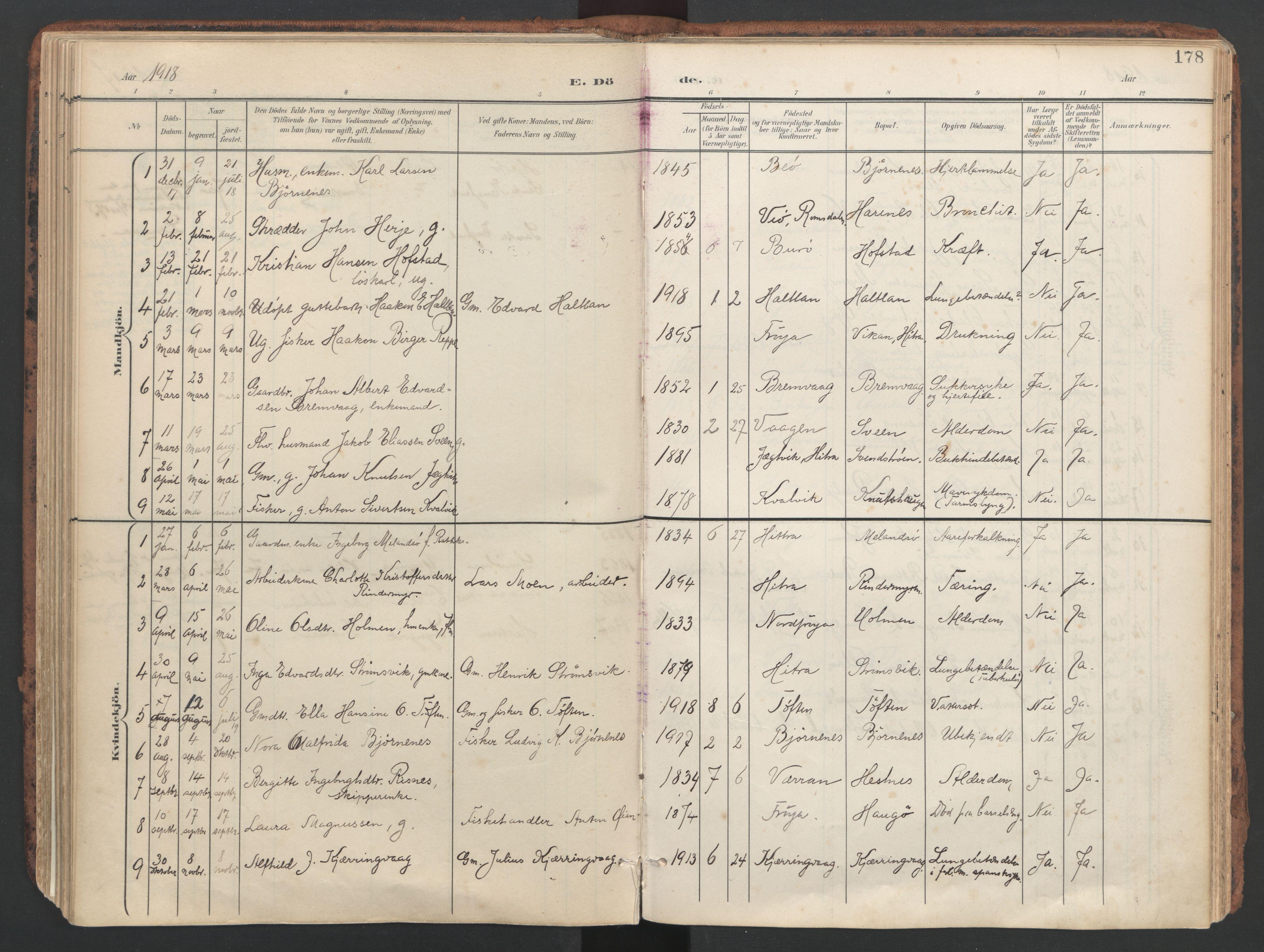 SAT, Ministerialprotokoller, klokkerbøker og fødselsregistre - Sør-Trøndelag, 634/L0537: Ministerialbok nr. 634A13, 1896-1922, s. 178