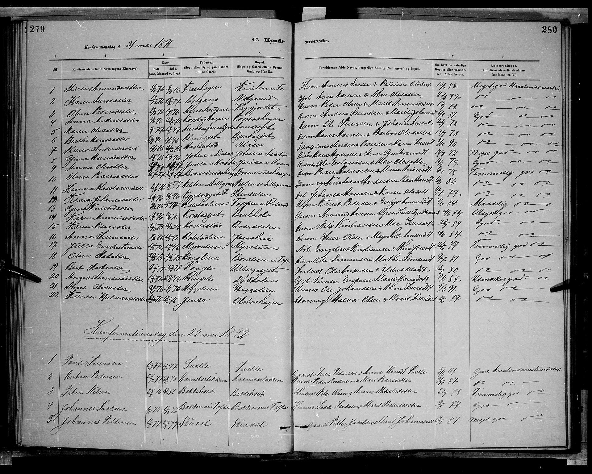 SAH, Sør-Fron prestekontor, H/Ha/Hab/L0003: Klokkerbok nr. 3, 1884-1896, s. 279-280