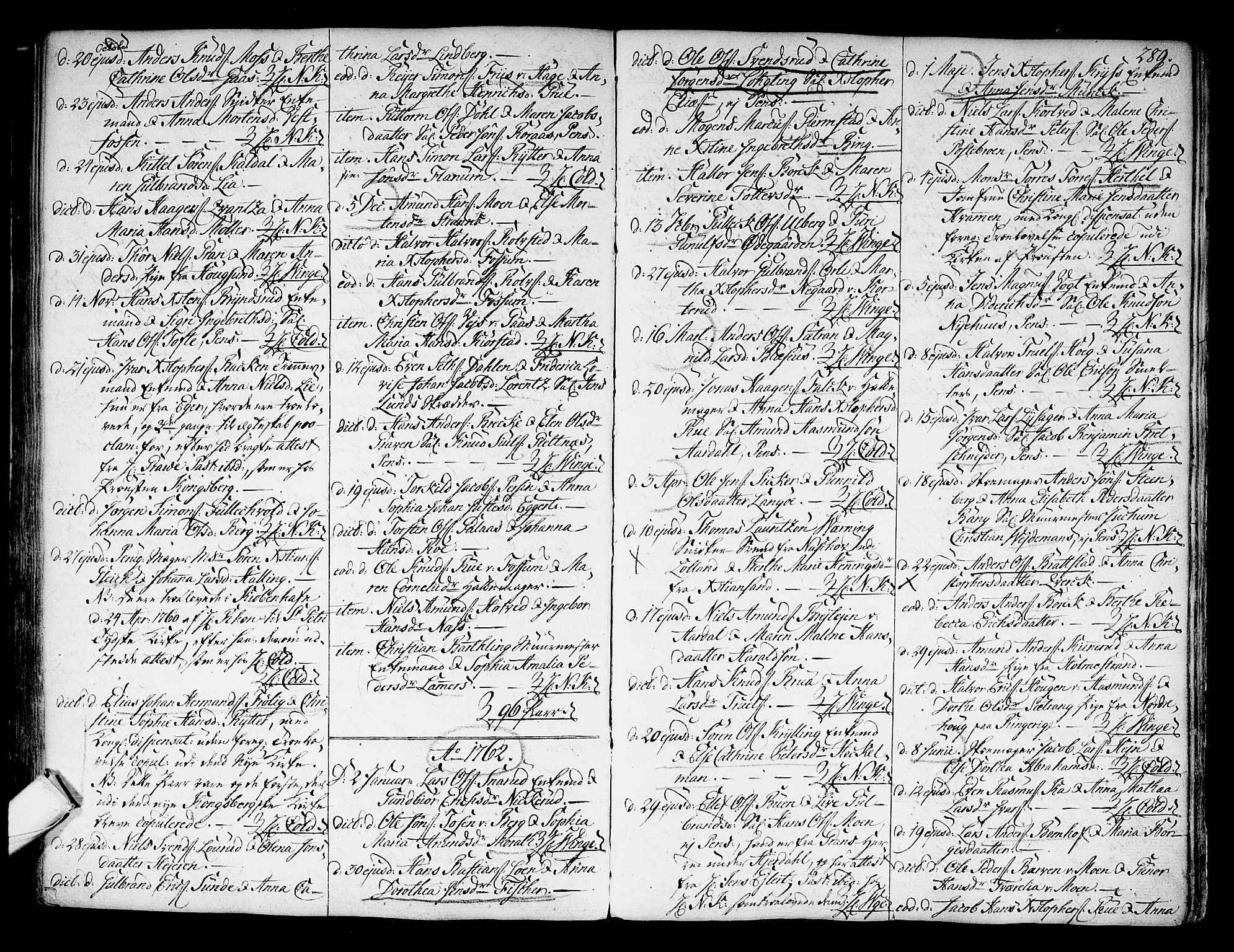 SAKO, Kongsberg kirkebøker, F/Fa/L0004: Ministerialbok nr. I 4, 1756-1768, s. 289
