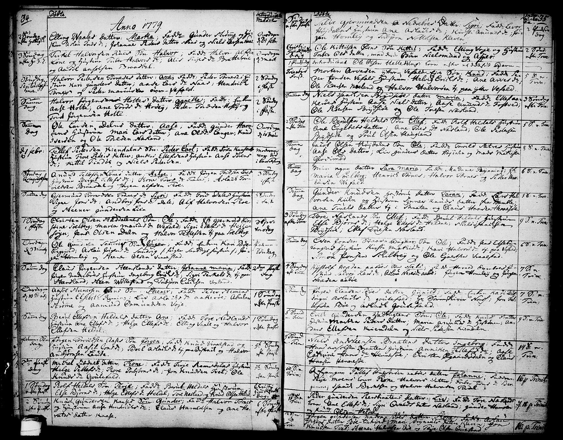 SAKO, Drangedal kirkebøker, F/Fa/L0003: Ministerialbok nr. 3, 1768-1814, s. 34-35