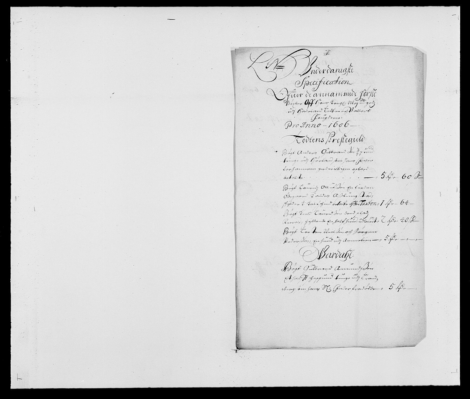 RA, Rentekammeret inntil 1814, Reviderte regnskaper, Fogderegnskap, R18/L1285: Fogderegnskap Hadeland, Toten og Valdres, 1686, s. 146
