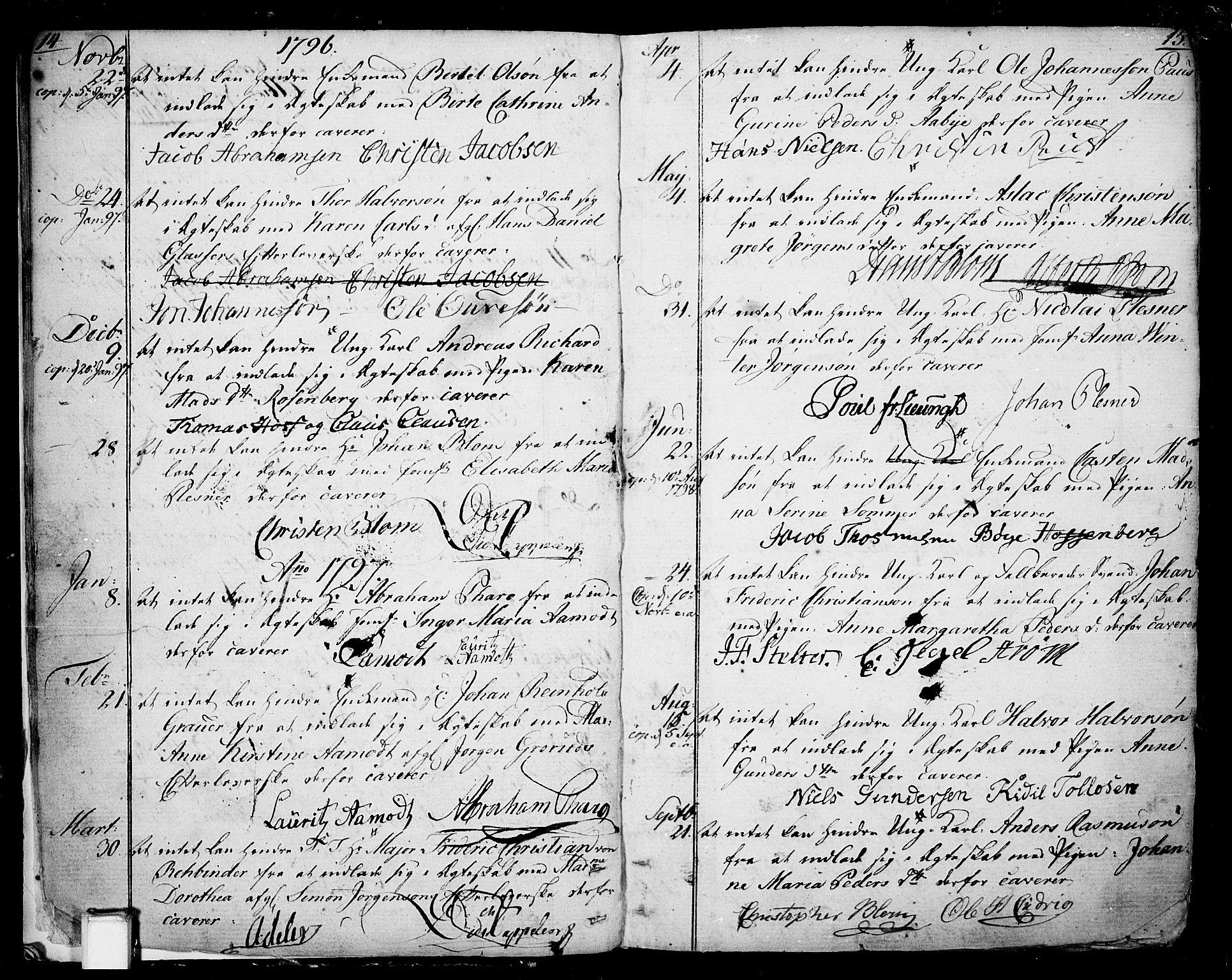 SAKO, Skien kirkebøker, F/Fa/L0004: Ministerialbok nr. 4, 1792-1814, s. 14-15