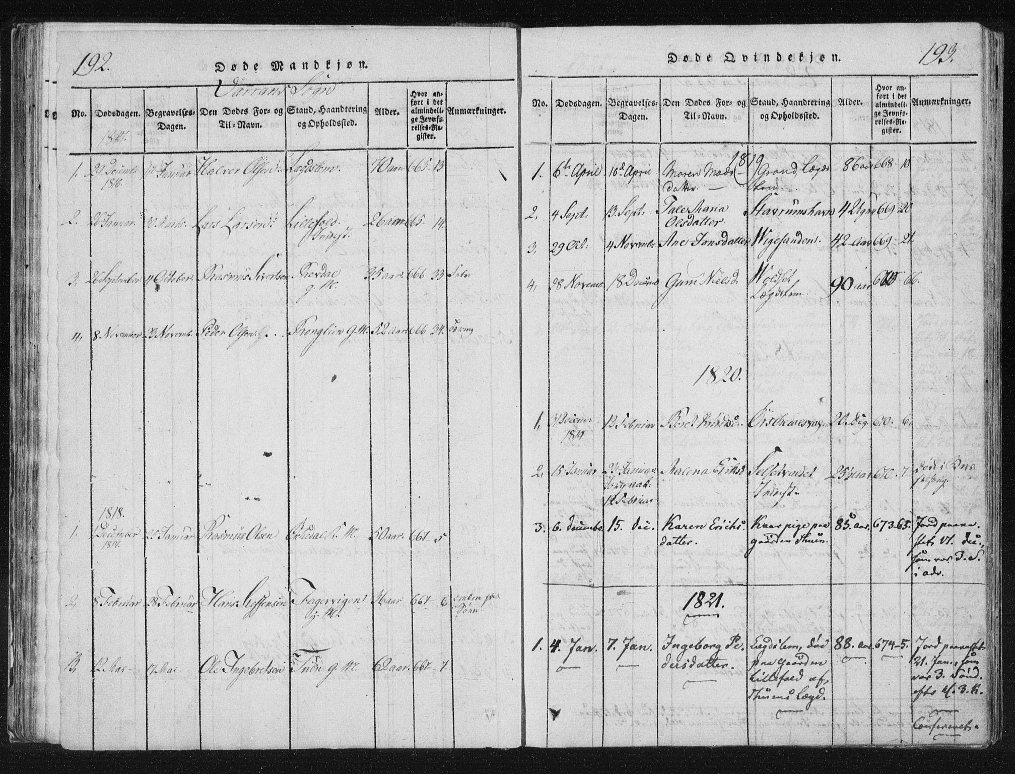 SAT, Ministerialprotokoller, klokkerbøker og fødselsregistre - Nord-Trøndelag, 744/L0417: Ministerialbok nr. 744A01, 1817-1842, s. 192-193