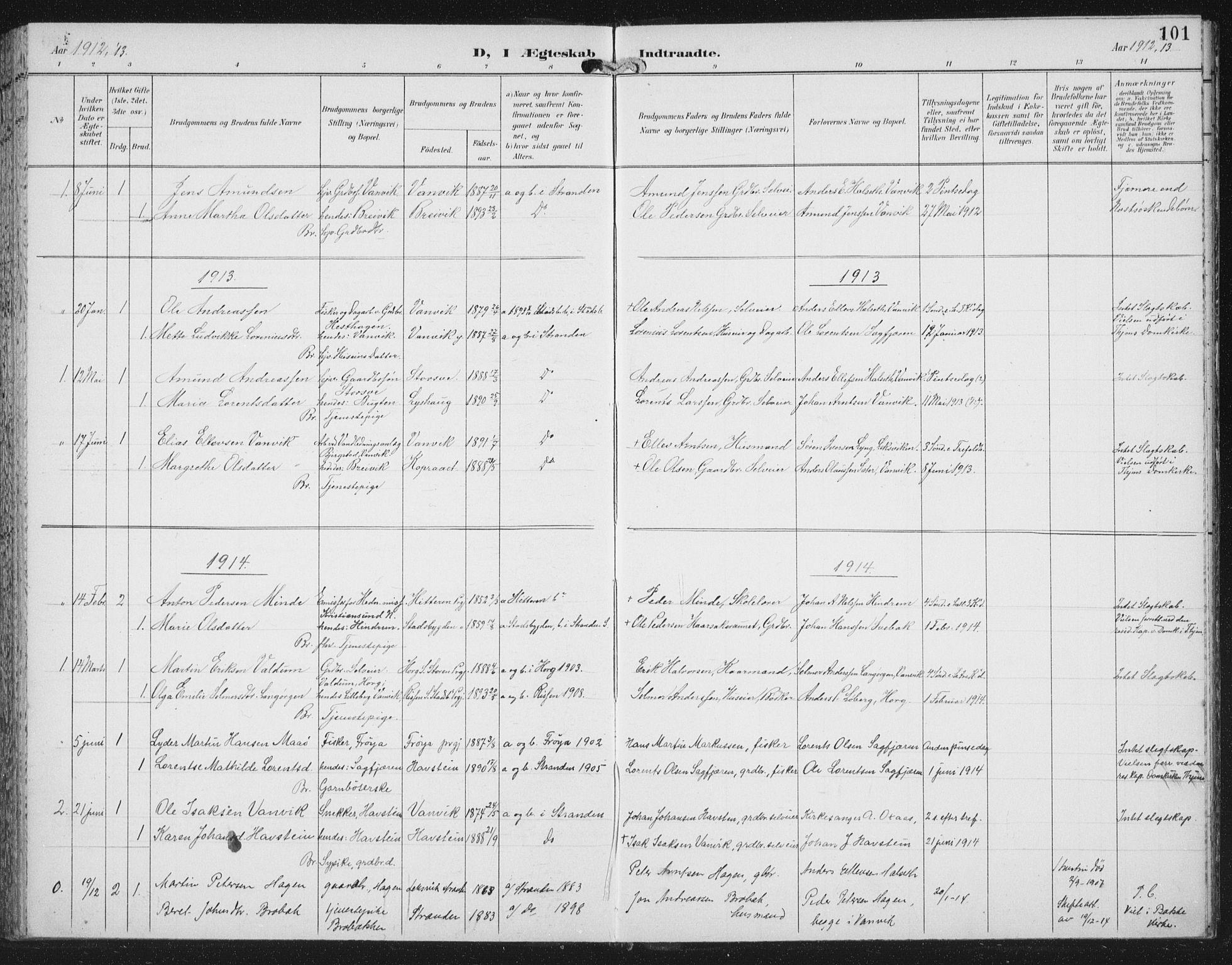 SAT, Ministerialprotokoller, klokkerbøker og fødselsregistre - Nord-Trøndelag, 702/L0024: Ministerialbok nr. 702A02, 1898-1914, s. 101