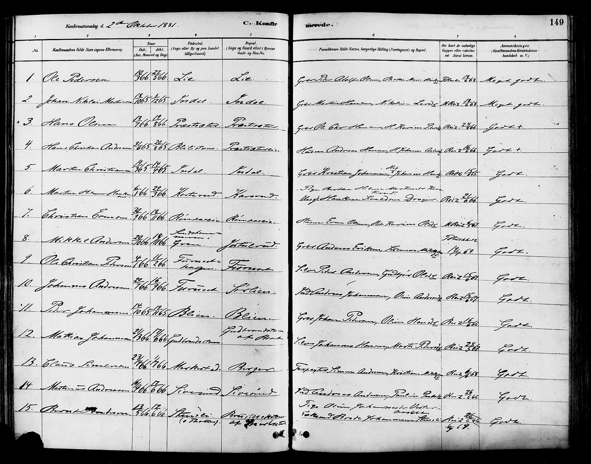 SAH, Vestre Toten prestekontor, Ministerialbok nr. 9, 1878-1894, s. 149