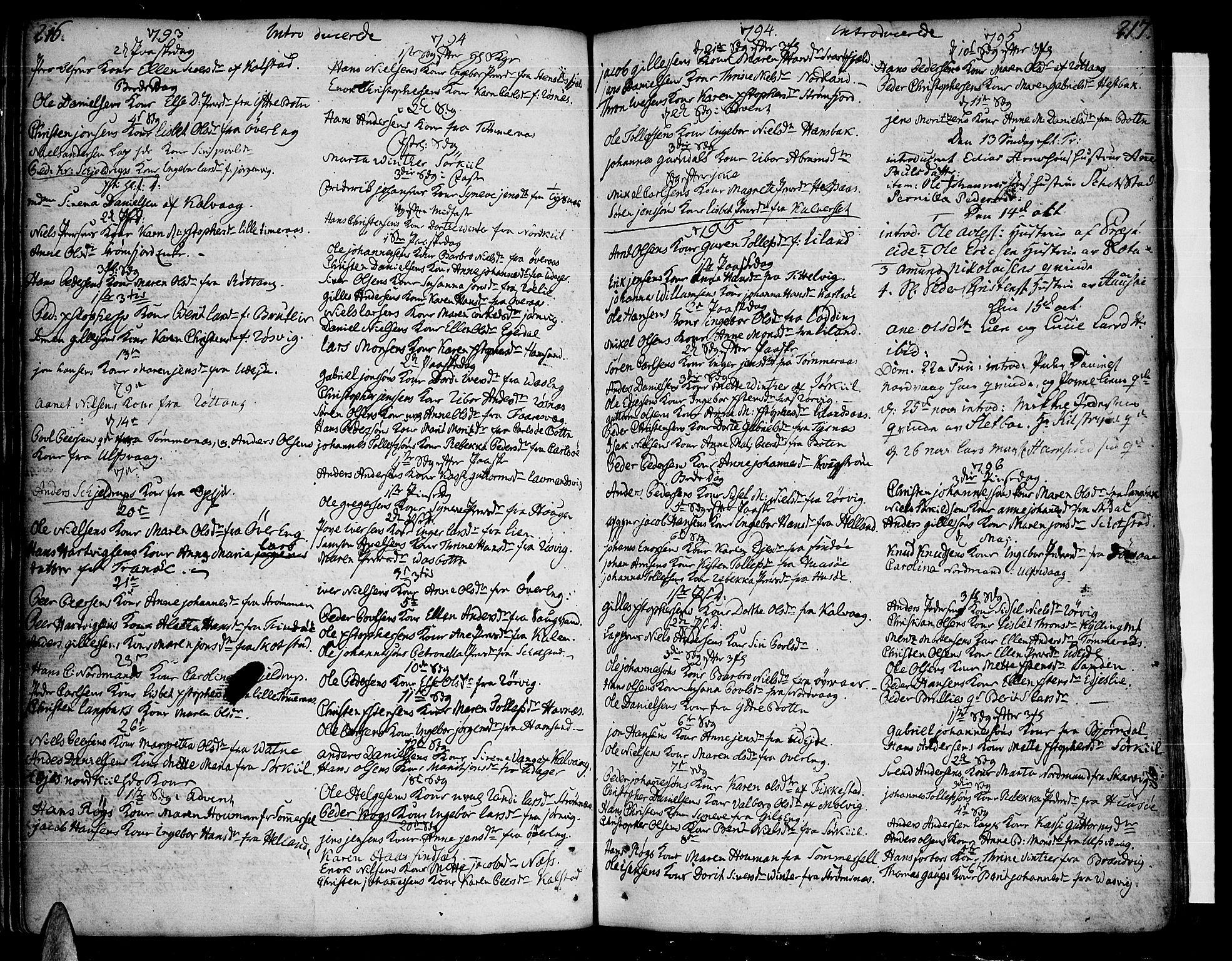 SAT, Ministerialprotokoller, klokkerbøker og fødselsregistre - Nordland, 859/L0841: Ministerialbok nr. 859A01, 1766-1821, s. 216-217