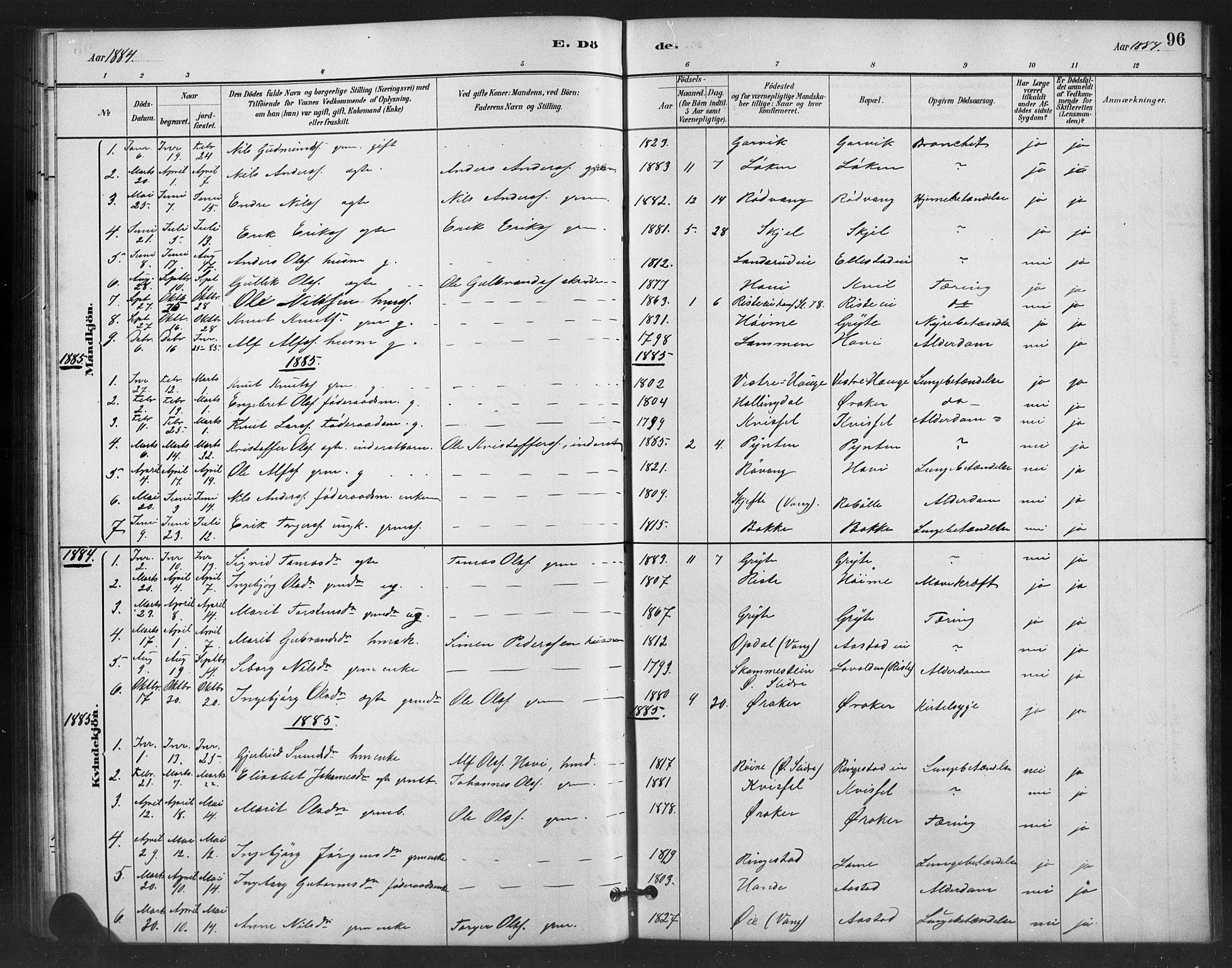 SAH, Vestre Slidre prestekontor, Klokkerbok nr. 6, 1881-1915, s. 96