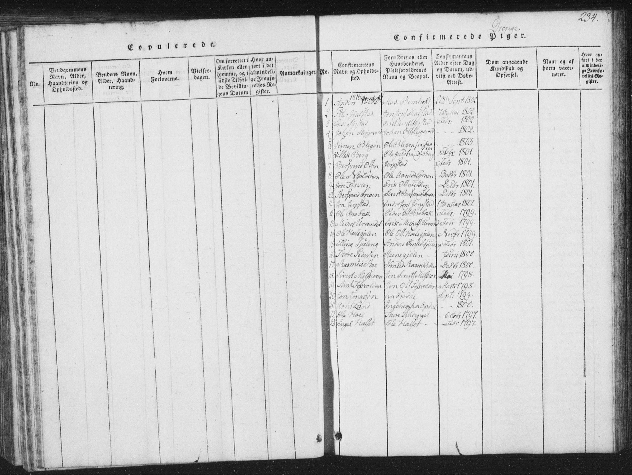 SAT, Ministerialprotokoller, klokkerbøker og fødselsregistre - Sør-Trøndelag, 672/L0862: Klokkerbok nr. 672C01, 1816-1831, s. 234
