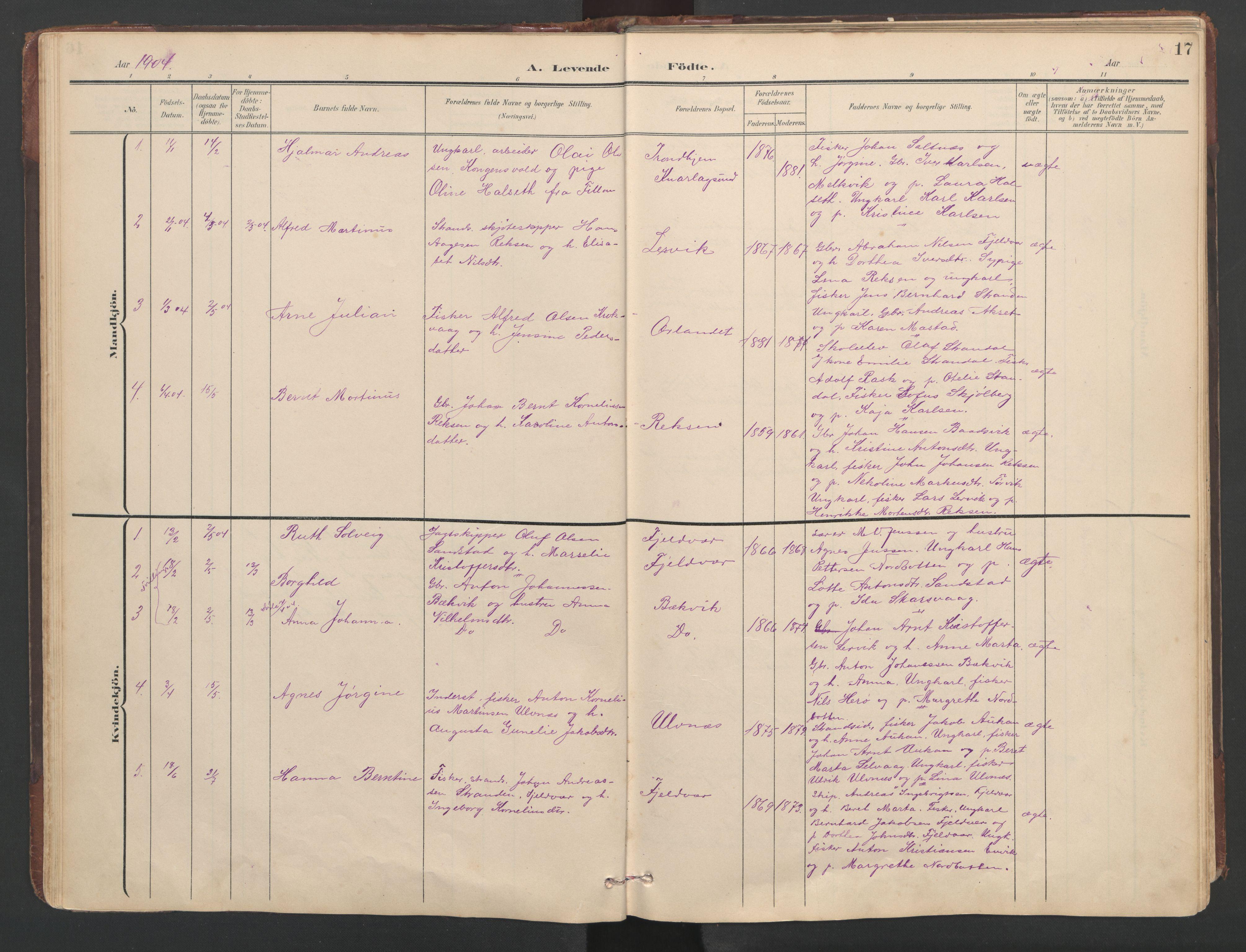 SAT, Ministerialprotokoller, klokkerbøker og fødselsregistre - Sør-Trøndelag, 638/L0571: Klokkerbok nr. 638C03, 1901-1930, s. 17
