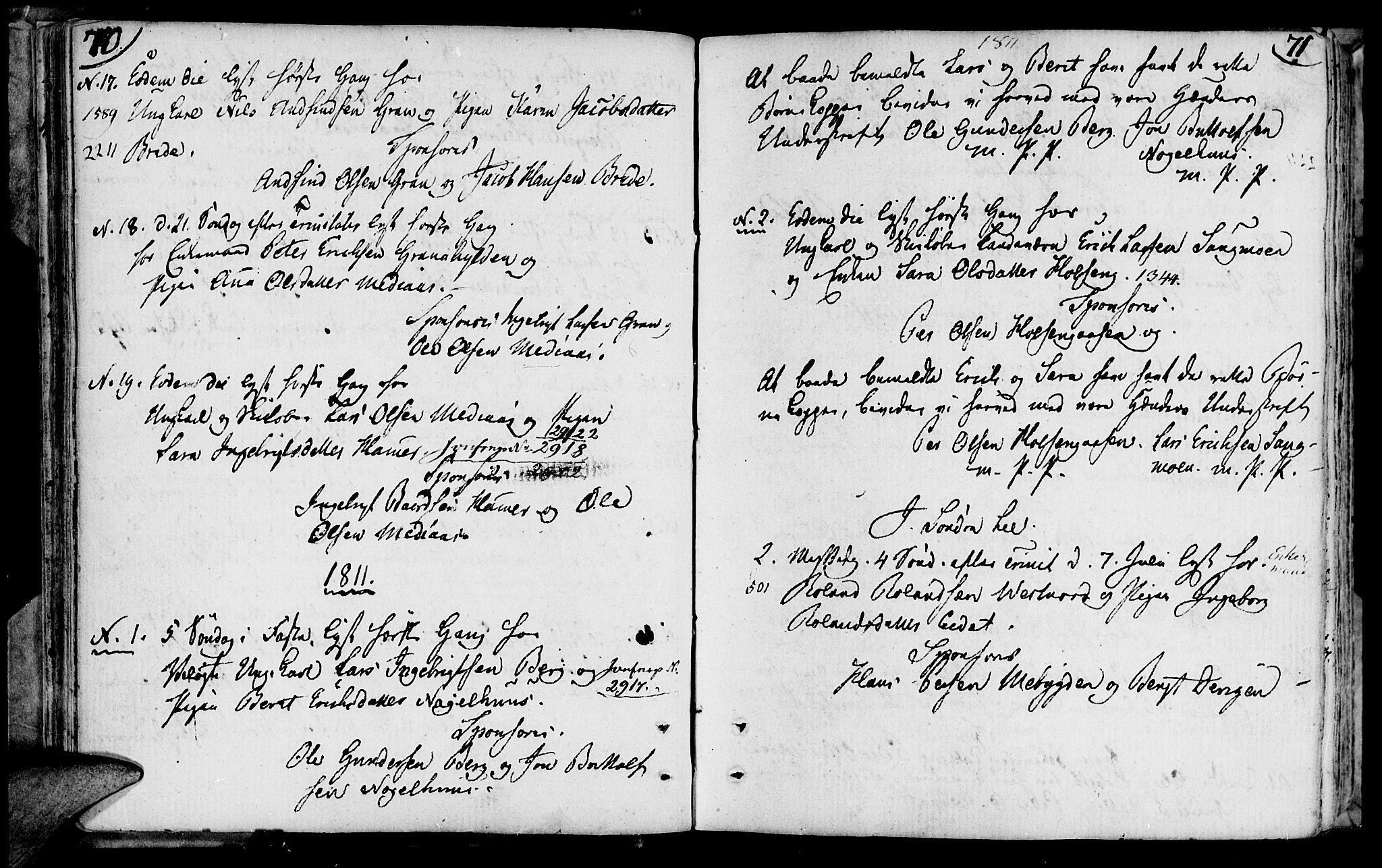 SAT, Ministerialprotokoller, klokkerbøker og fødselsregistre - Nord-Trøndelag, 749/L0468: Ministerialbok nr. 749A02, 1787-1817, s. 70-71