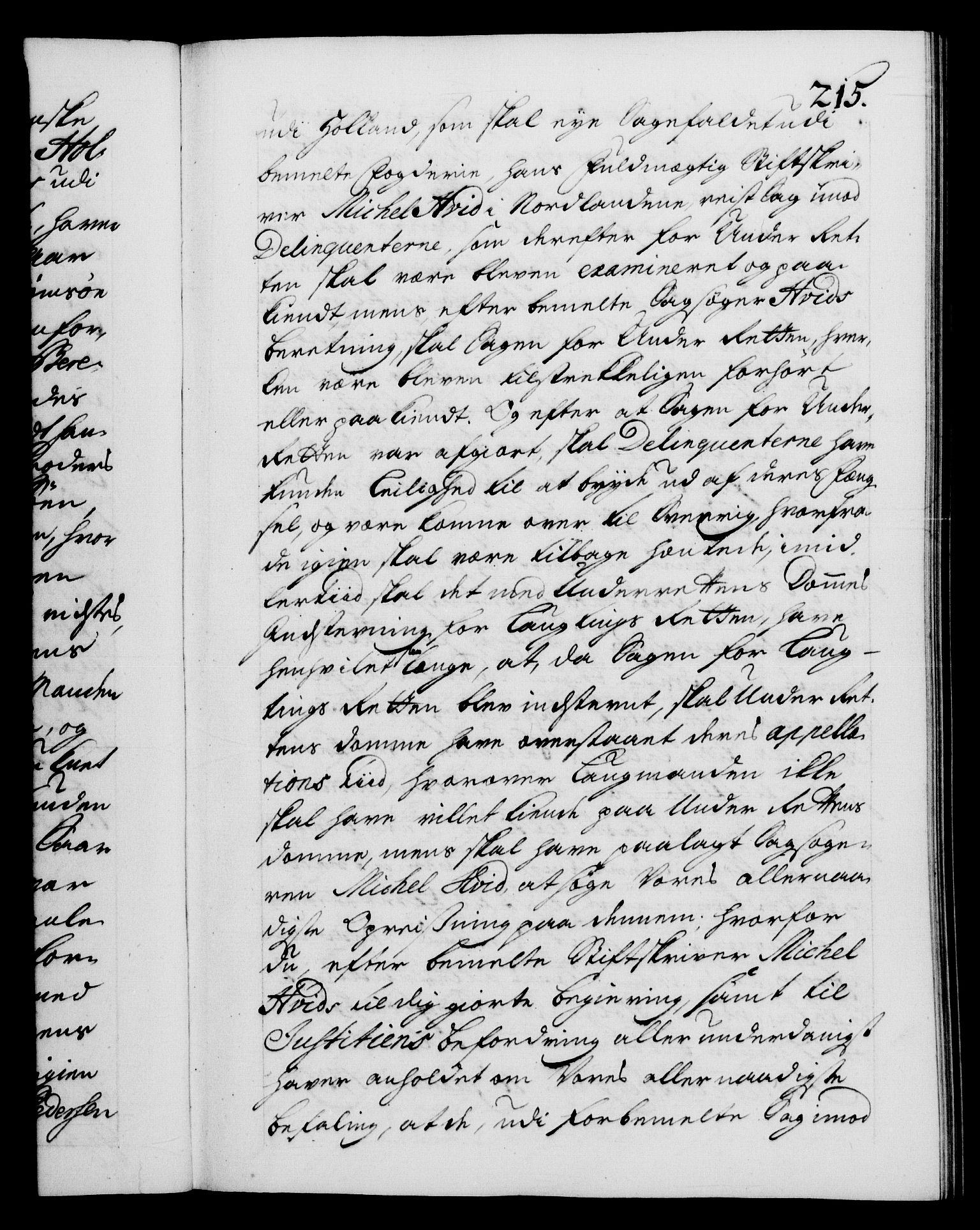 RA, Danske Kanselli 1572-1799, F/Fc/Fca/Fcab/L0028: Norske tegnelser, 1738-1740, s. 215a