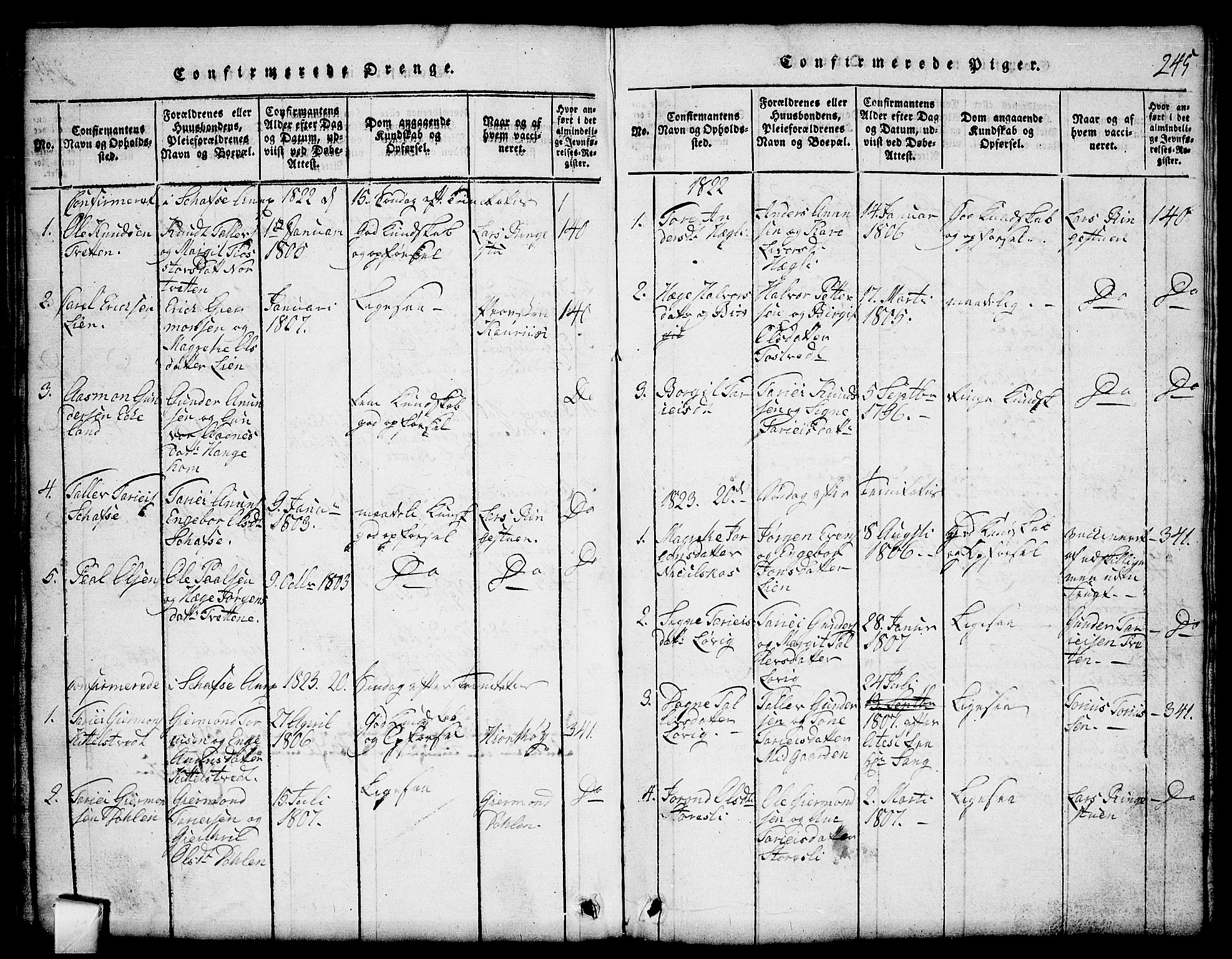 SAKO, Mo kirkebøker, G/Gb/L0001: Klokkerbok nr. II 1, 1814-1843, s. 245