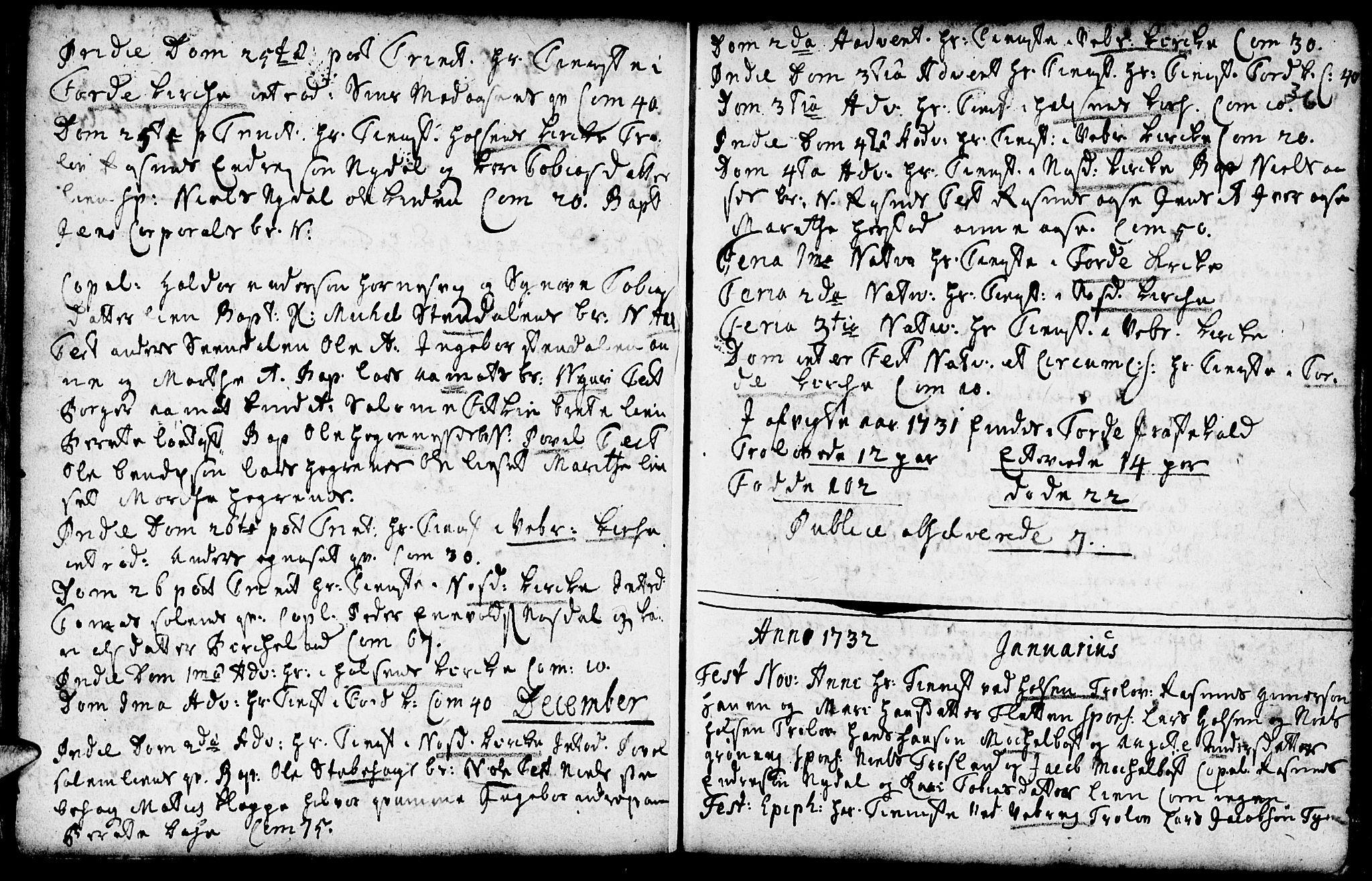 SAB, Førde sokneprestembete, H/Haa: Ministerialbok nr. A 2, 1728-1748, s. 36