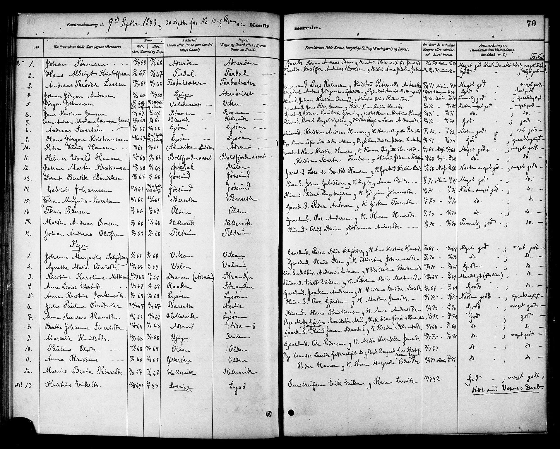 SAT, Ministerialprotokoller, klokkerbøker og fødselsregistre - Sør-Trøndelag, 654/L0663: Ministerialbok nr. 654A01, 1880-1894, s. 70