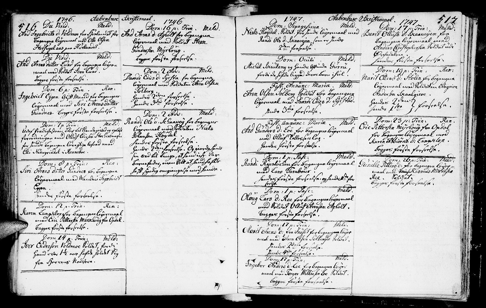 SAT, Ministerialprotokoller, klokkerbøker og fødselsregistre - Sør-Trøndelag, 672/L0850: Ministerialbok nr. 672A03, 1725-1751, s. 516-517