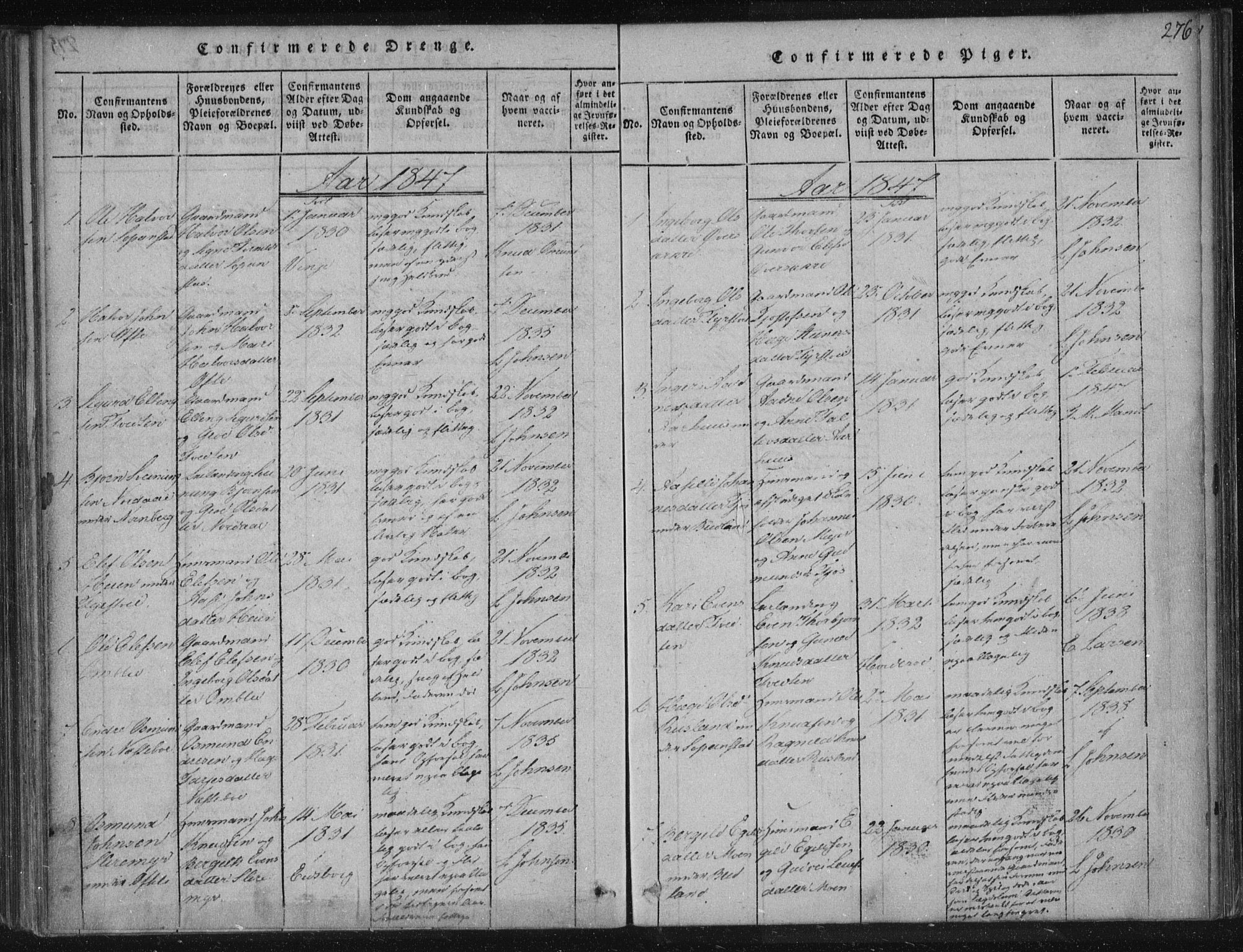 SAKO, Lårdal kirkebøker, F/Fc/L0001: Ministerialbok nr. III 1, 1815-1860, s. 276