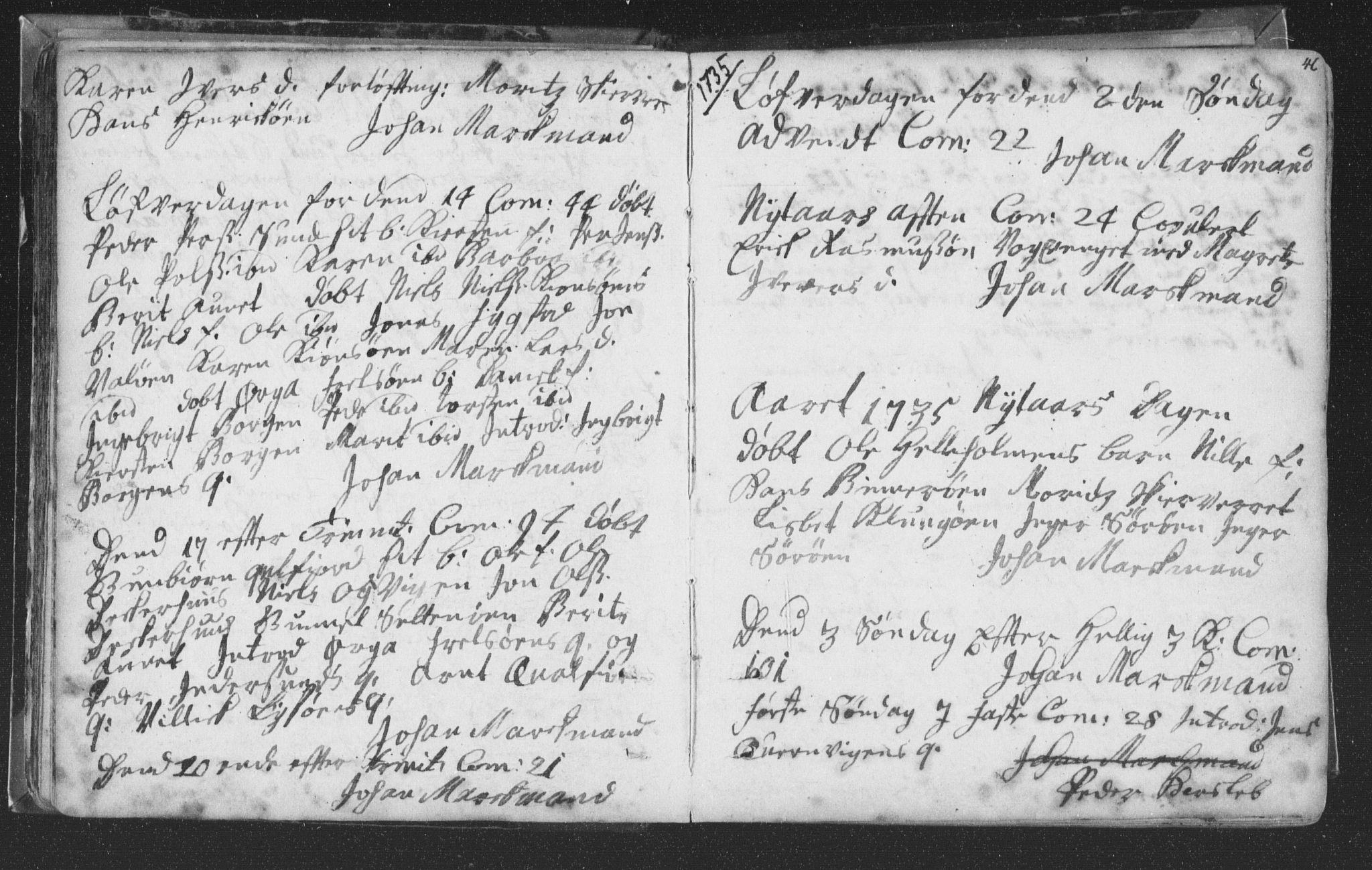 SAT, Ministerialprotokoller, klokkerbøker og fødselsregistre - Nord-Trøndelag, 786/L0685: Ministerialbok nr. 786A01, 1710-1798, s. 46