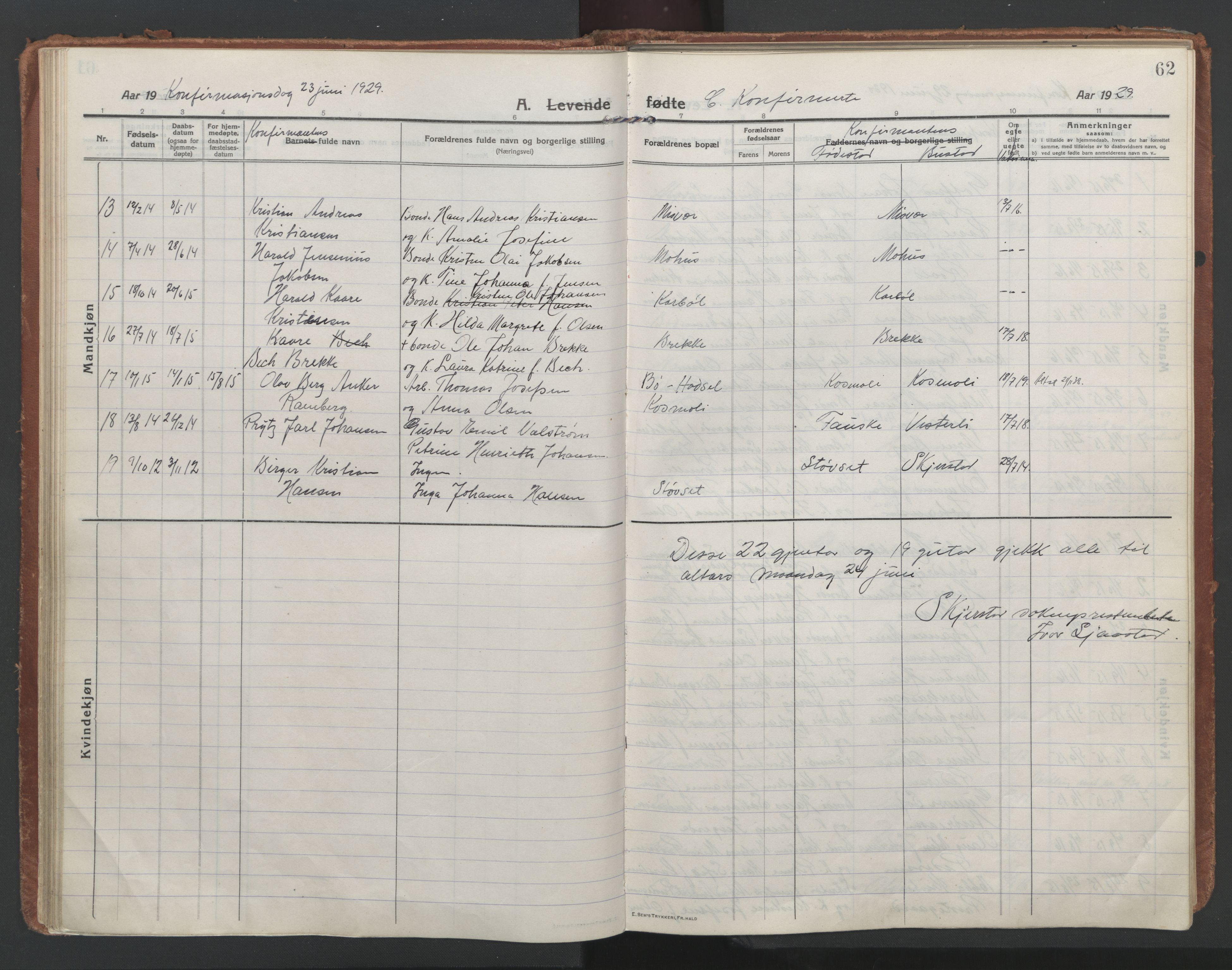 SAT, Ministerialprotokoller, klokkerbøker og fødselsregistre - Nordland, 852/L0748: Ministerialbok nr. 852A18, 1913-1932, s. 62