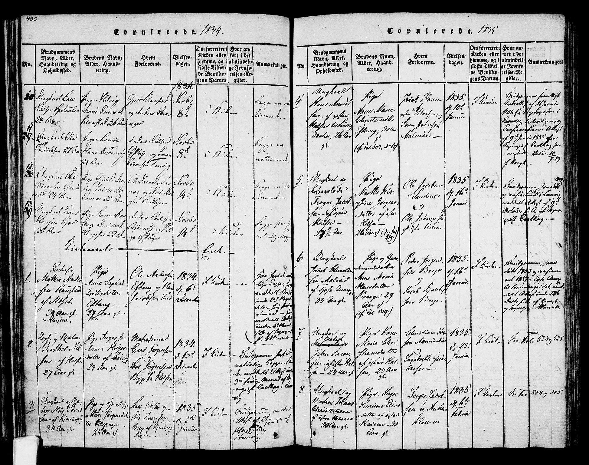 SAKO, Tjølling kirkebøker, F/Fa/L0005: Ministerialbok nr. 5, 1814-1836, s. 430-431