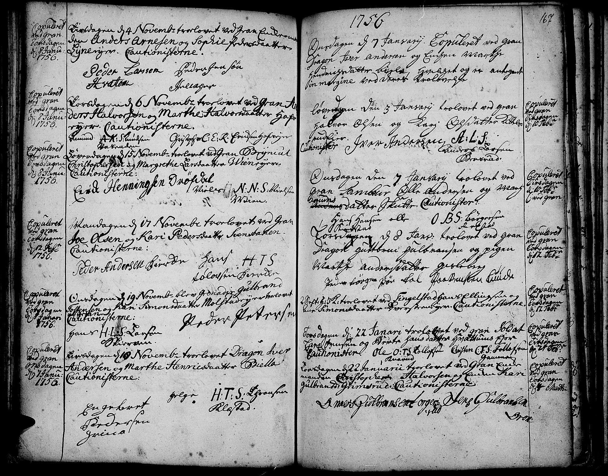 SAH, Gran prestekontor, Ministerialbok nr. 3, 1745-1758, s. 167