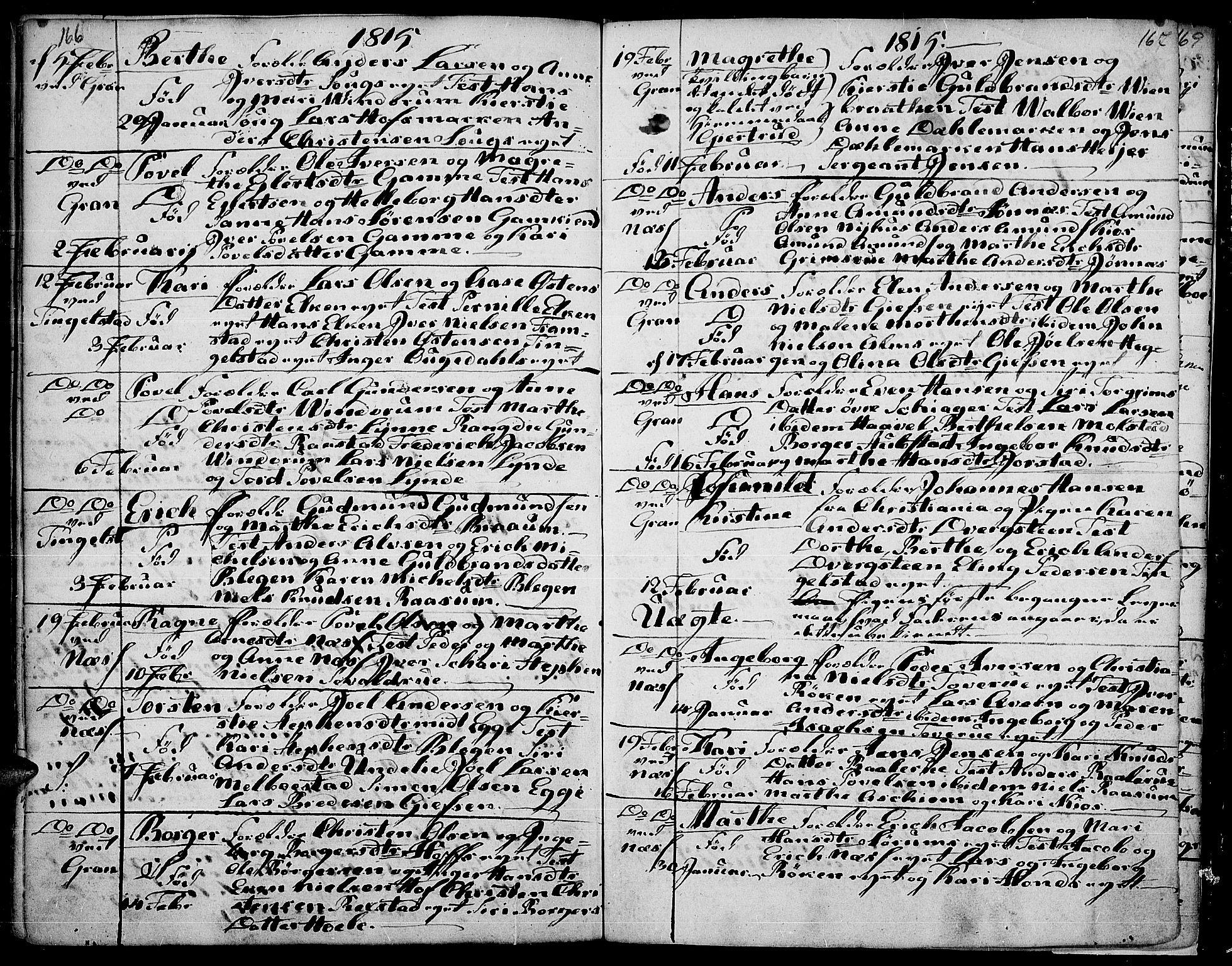 SAH, Gran prestekontor, Ministerialbok nr. 7, 1804-1815, s. 166-167