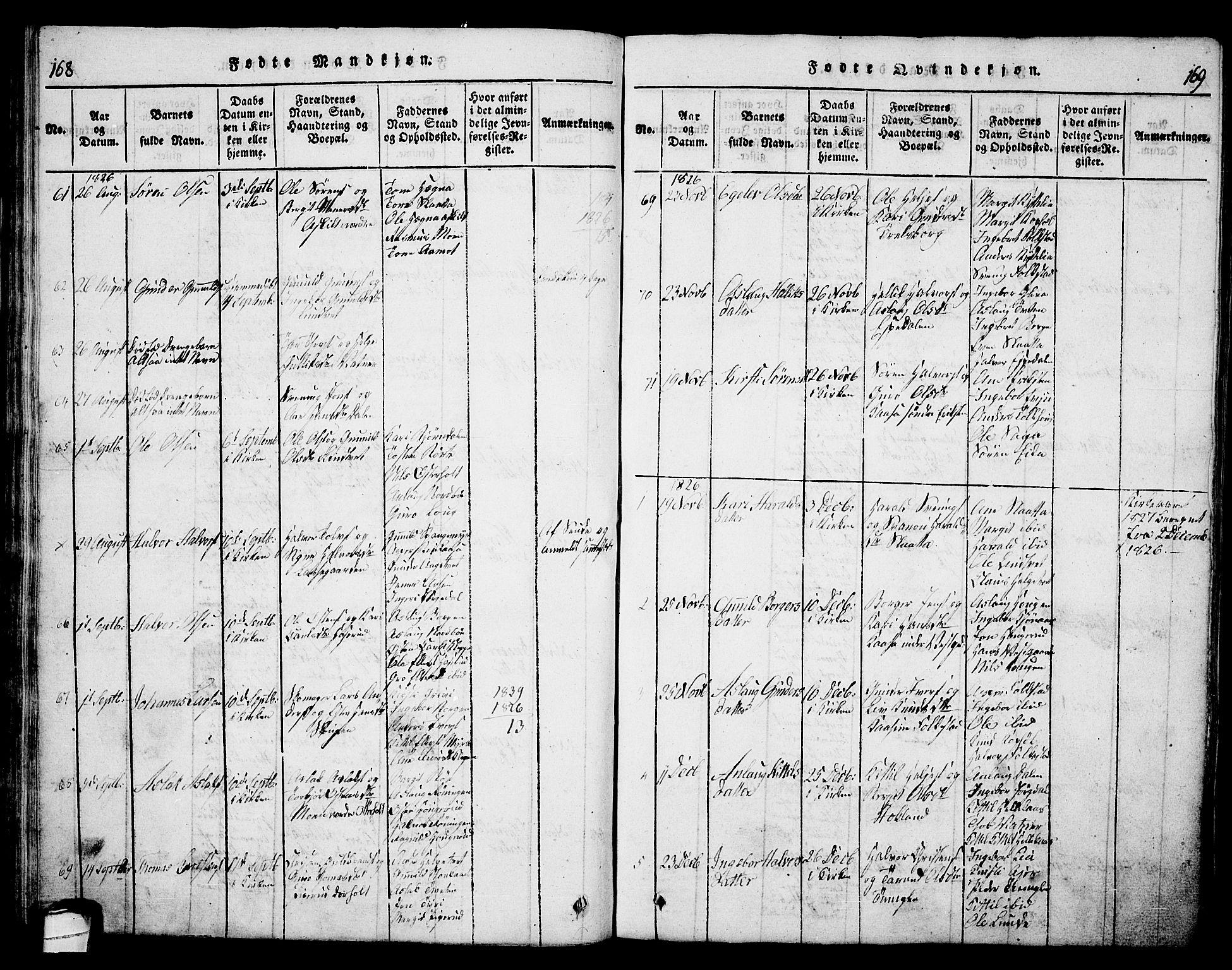 SAKO, Bø kirkebøker, G/Ga/L0001: Klokkerbok nr. 1, 1815-1831, s. 168-169