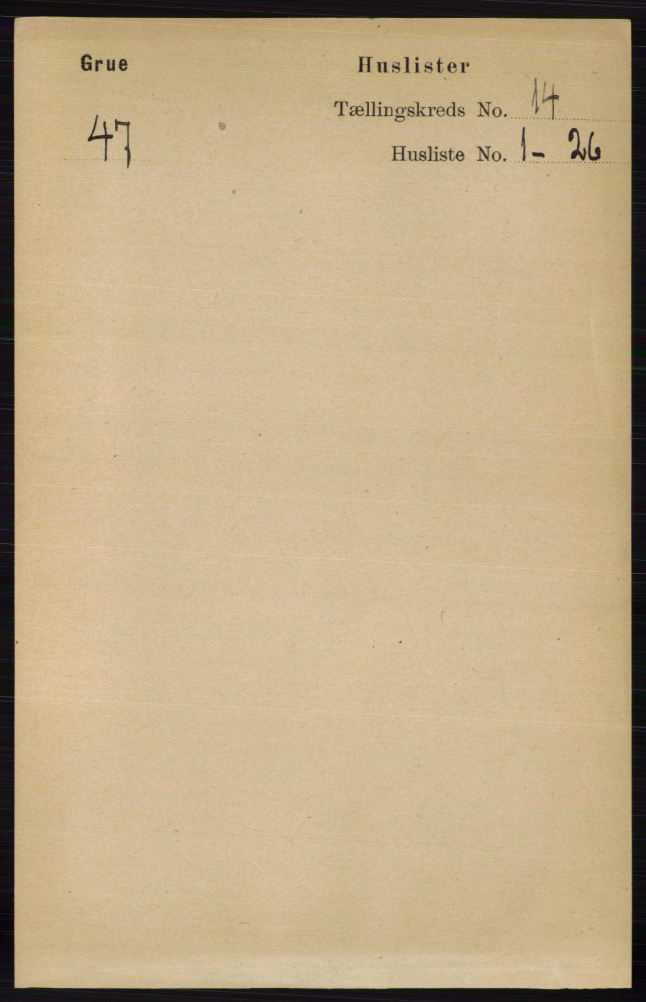 RA, Folketelling 1891 for 0423 Grue herred, 1891, s. 6984