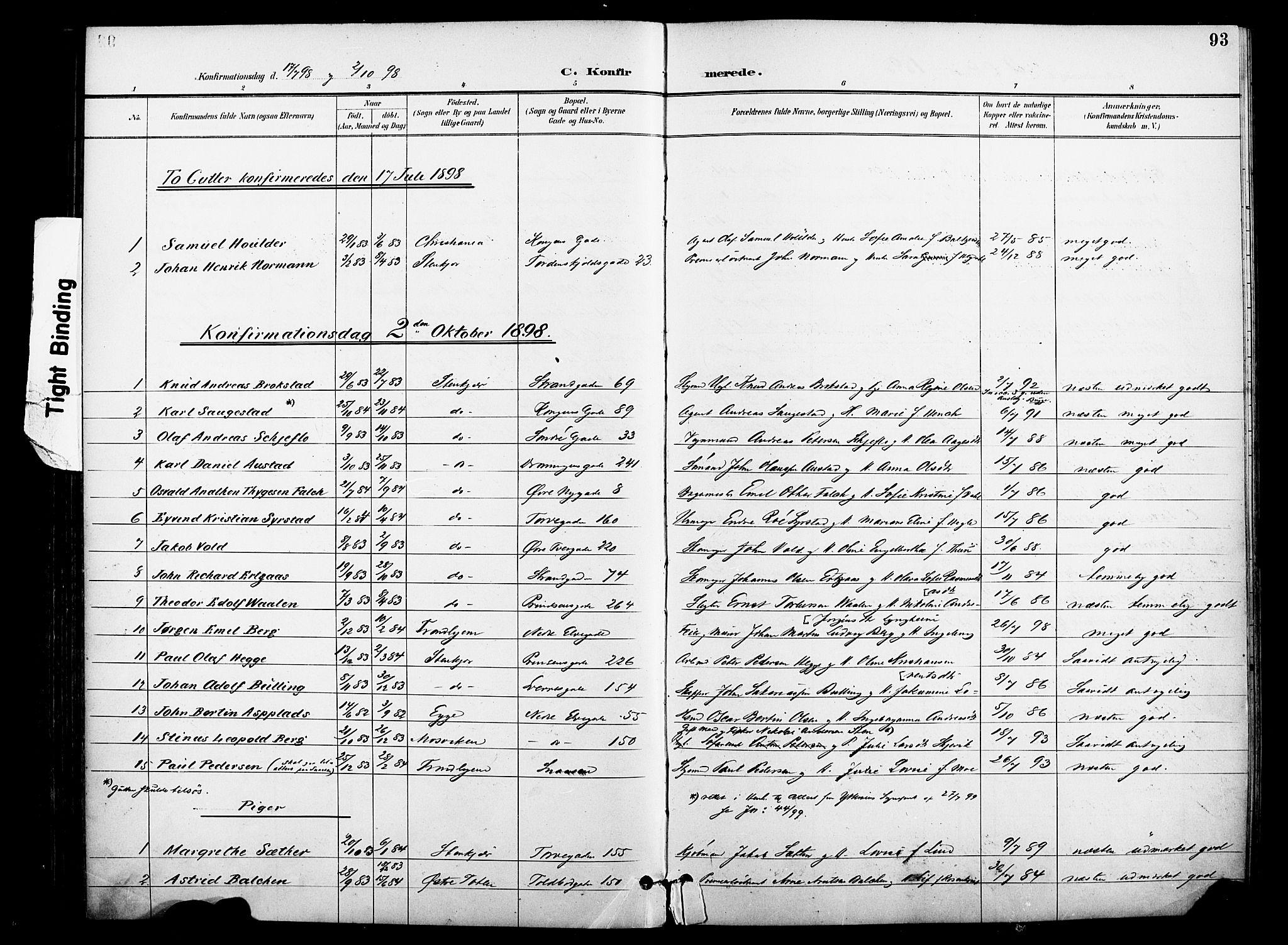 SAT, Ministerialprotokoller, klokkerbøker og fødselsregistre - Nord-Trøndelag, 739/L0372: Ministerialbok nr. 739A04, 1895-1903, s. 93