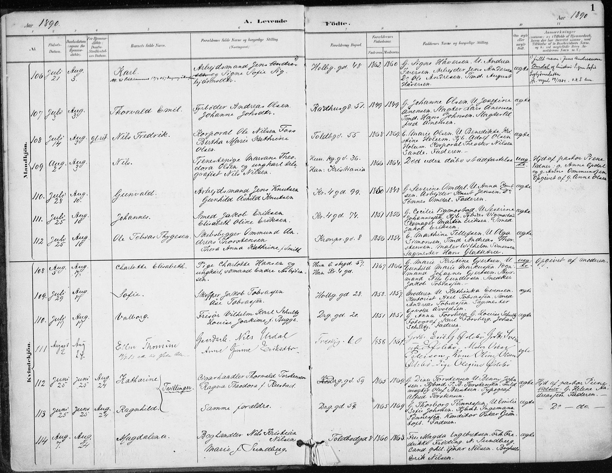 SAK, Kristiansand domprosti, F/Fa/L0019: Ministerialbok nr. A 18, 1890-1897, s. 1