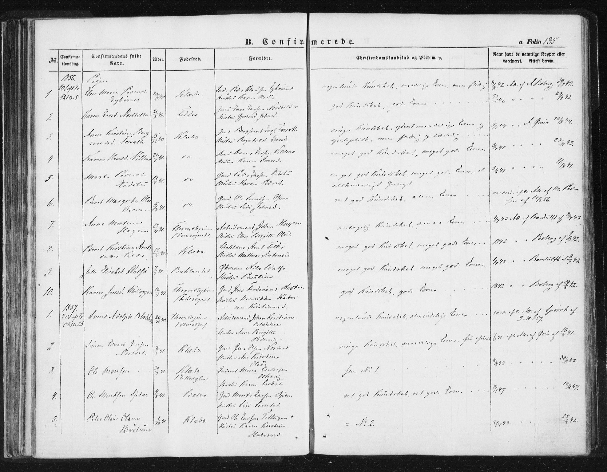 SAT, Ministerialprotokoller, klokkerbøker og fødselsregistre - Sør-Trøndelag, 618/L0441: Ministerialbok nr. 618A05, 1843-1862, s. 135