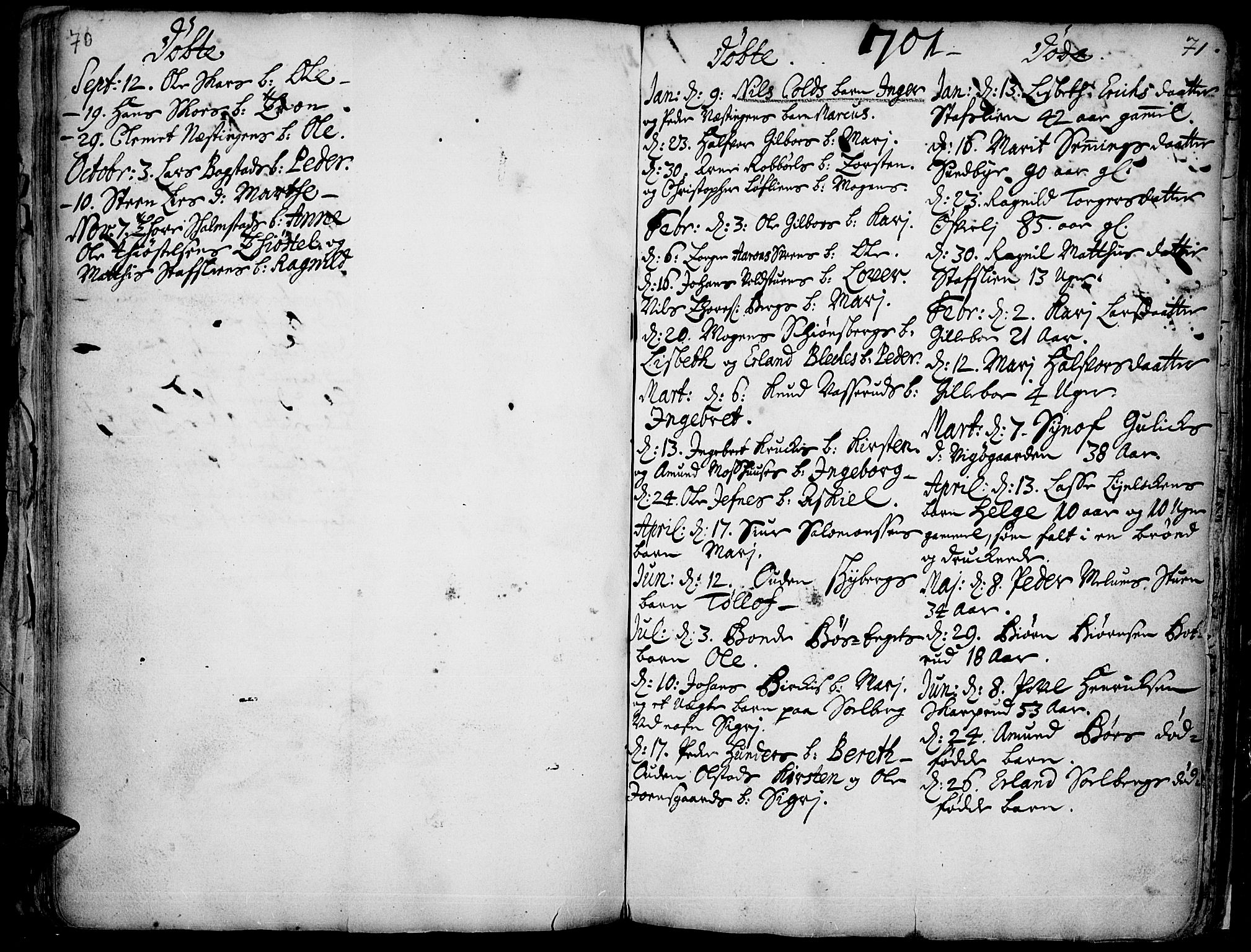SAH, Øyer prestekontor, Ministerialbok nr. 1, 1671-1727, s. 70-71
