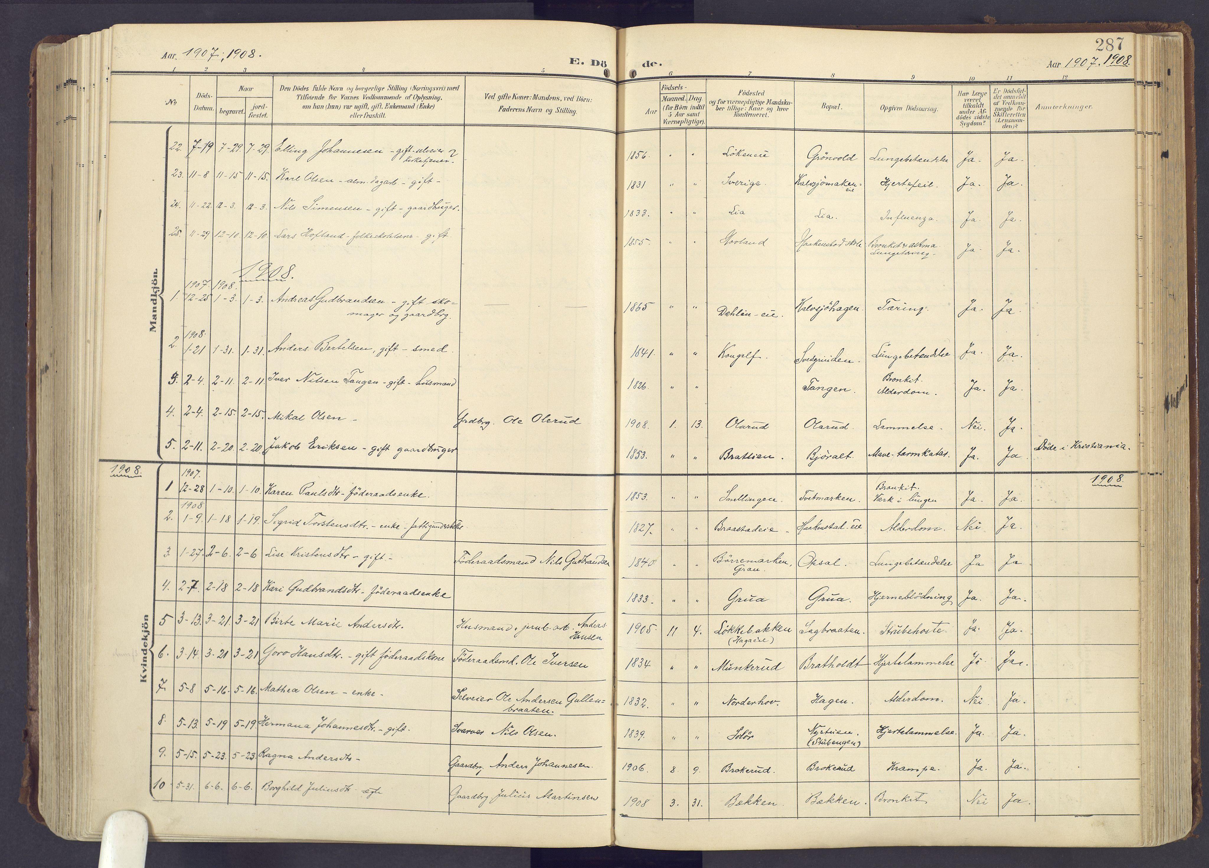 SAH, Lunner prestekontor, H/Ha/Haa/L0001: Ministerialbok nr. 1, 1907-1922, s. 287