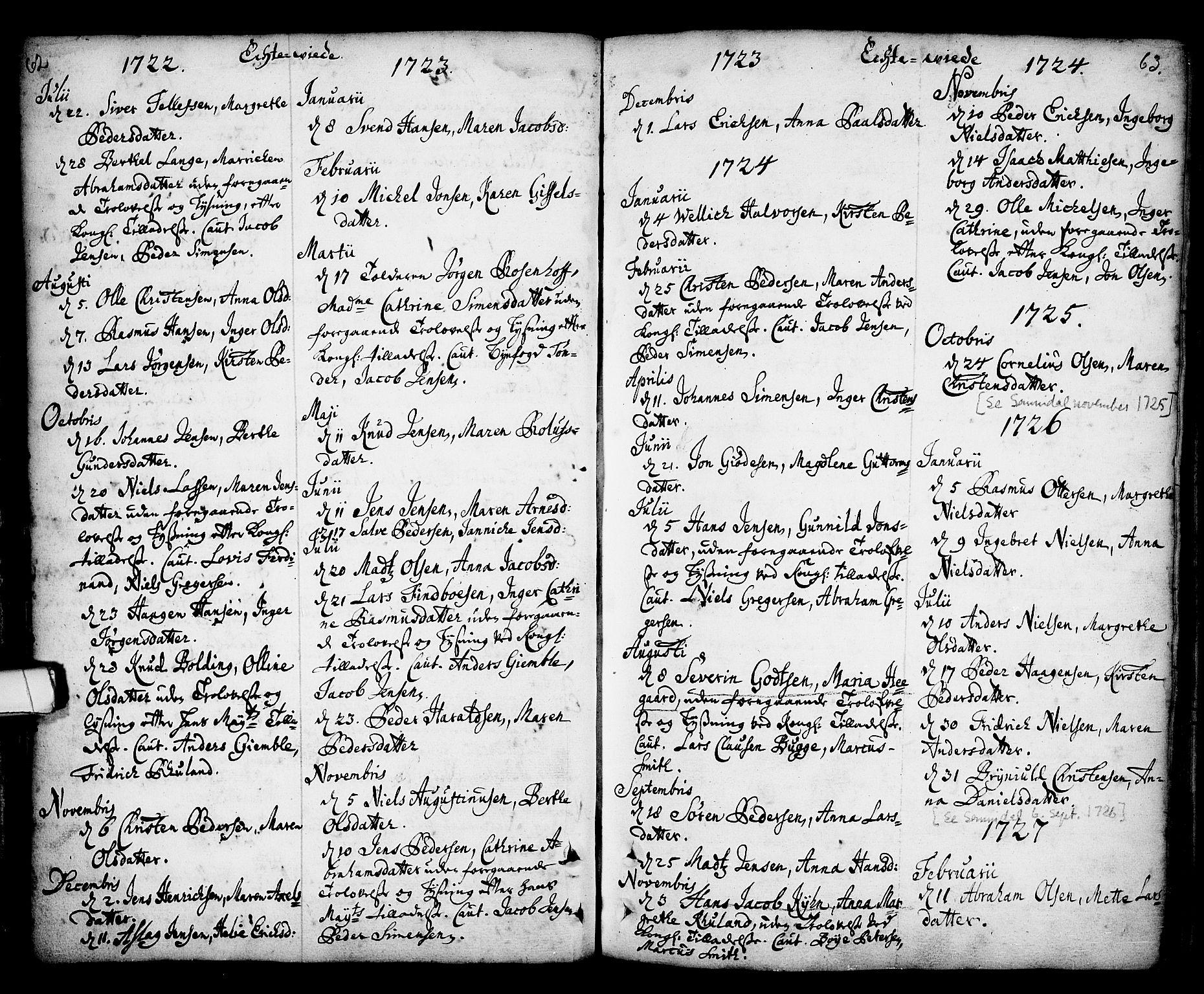 SAKO, Kragerø kirkebøker, F/Fa/L0001: Ministerialbok nr. 1, 1702-1766, s. 62-63