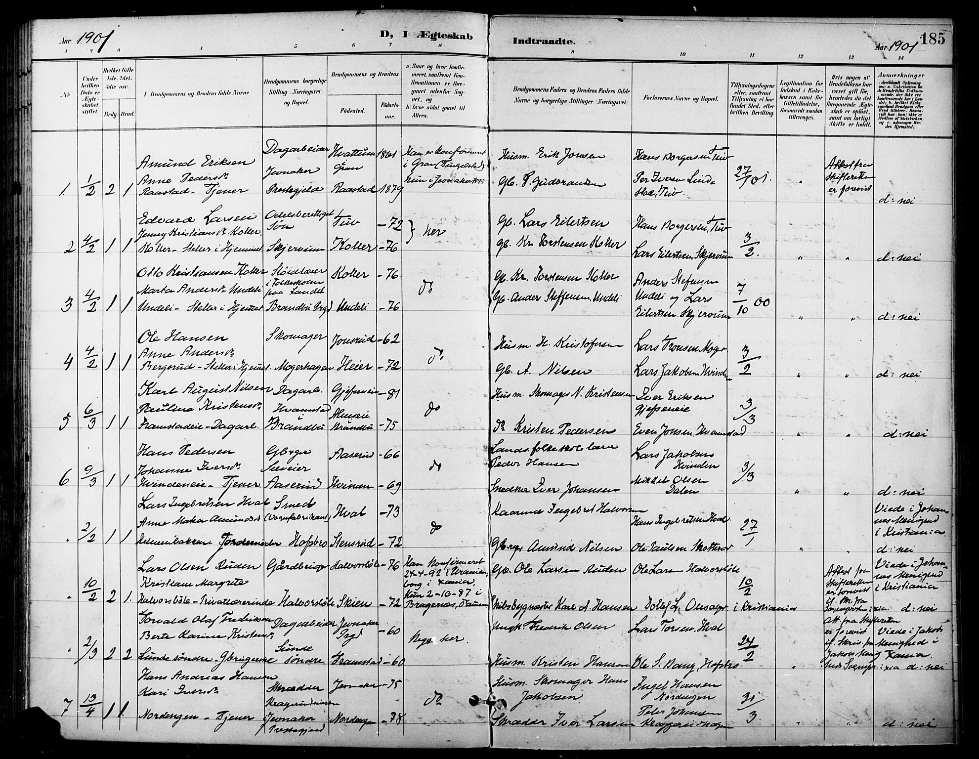 SAH, Gran prestekontor, Ministerialbok nr. 19, 1898-1907, s. 185